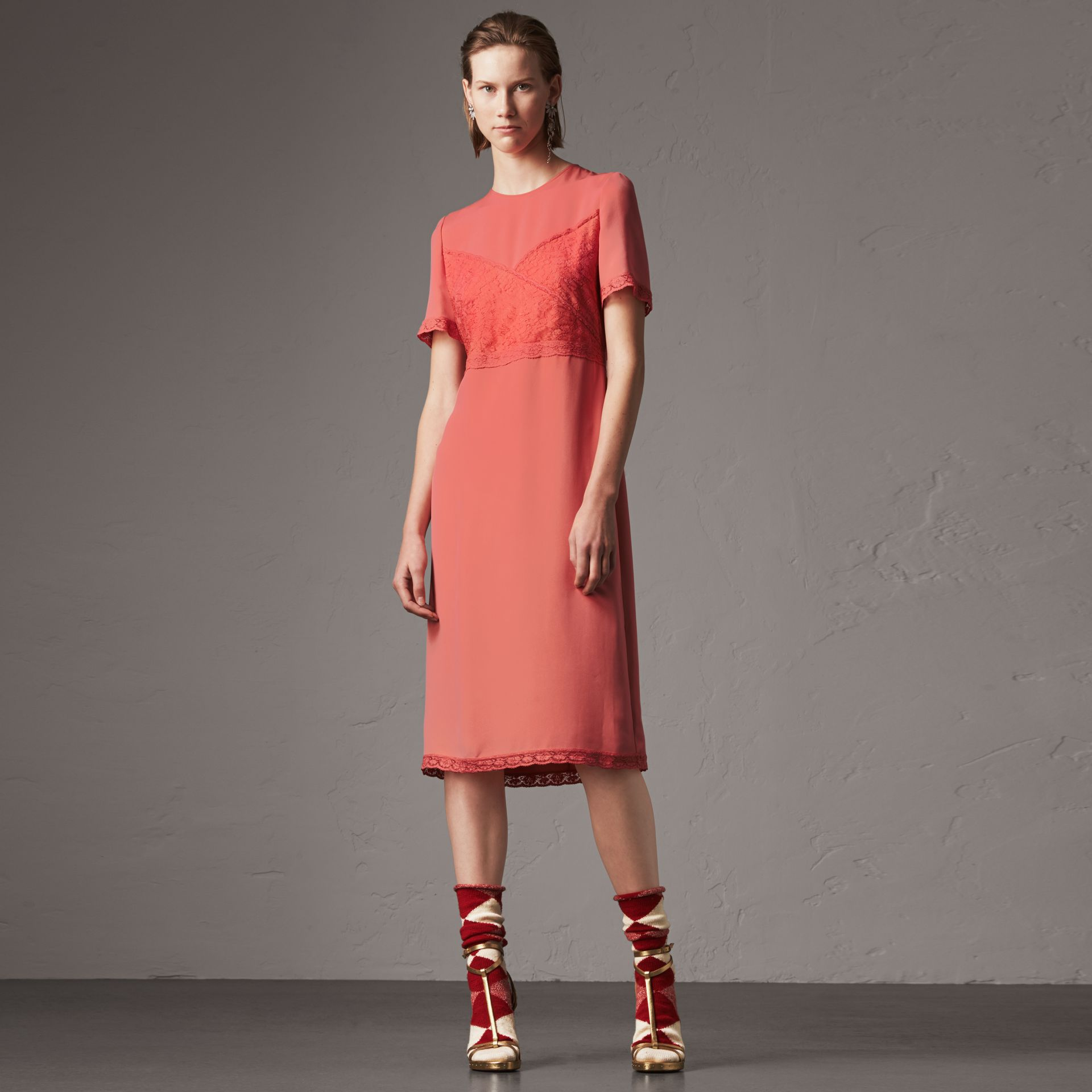 Chantilly Lace Detail Silk Crepe Marocain Dress in Coral Red - Women | Burberry - gallery image 0