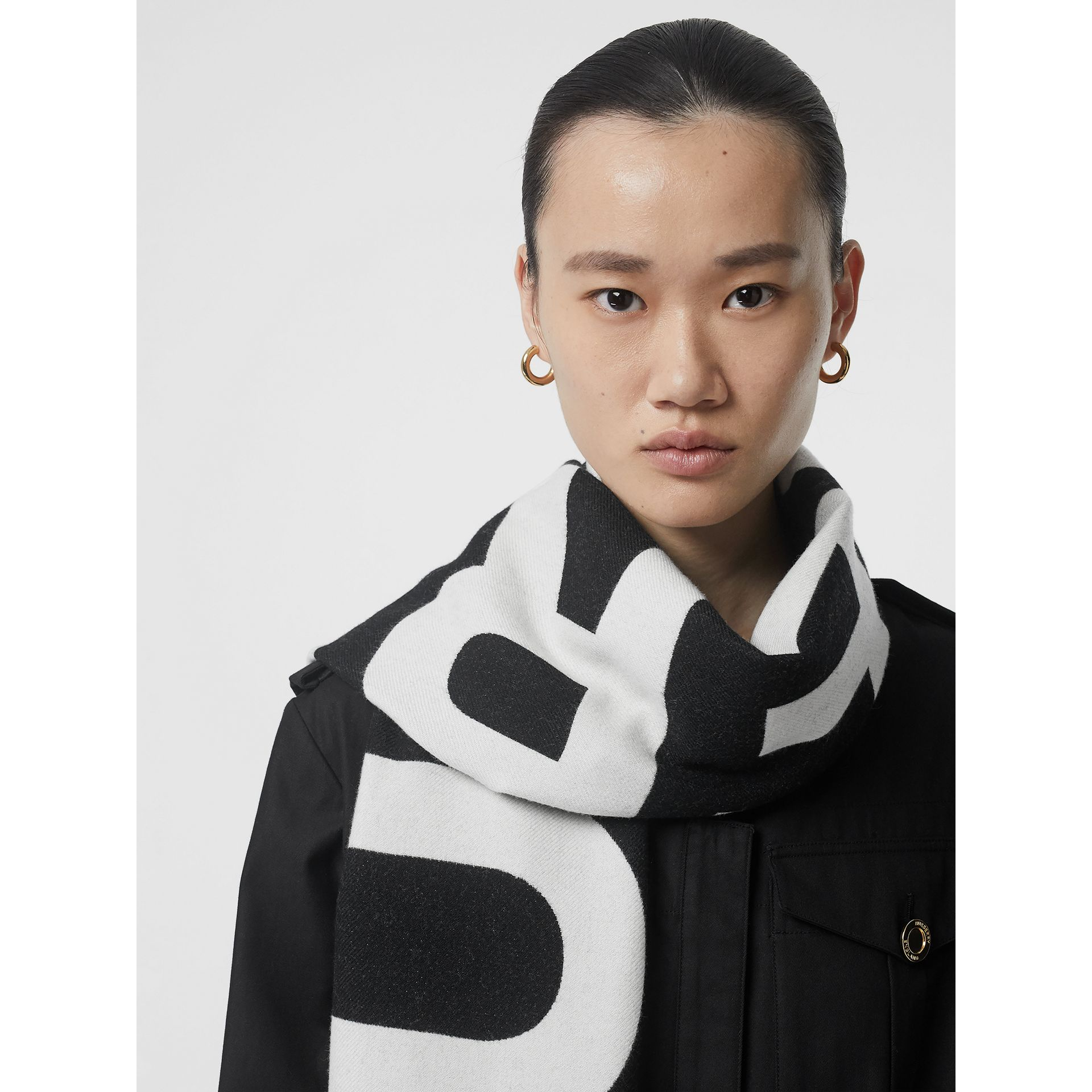 Logo Wool Scarf in Black/white | Burberry Australia - gallery image 5