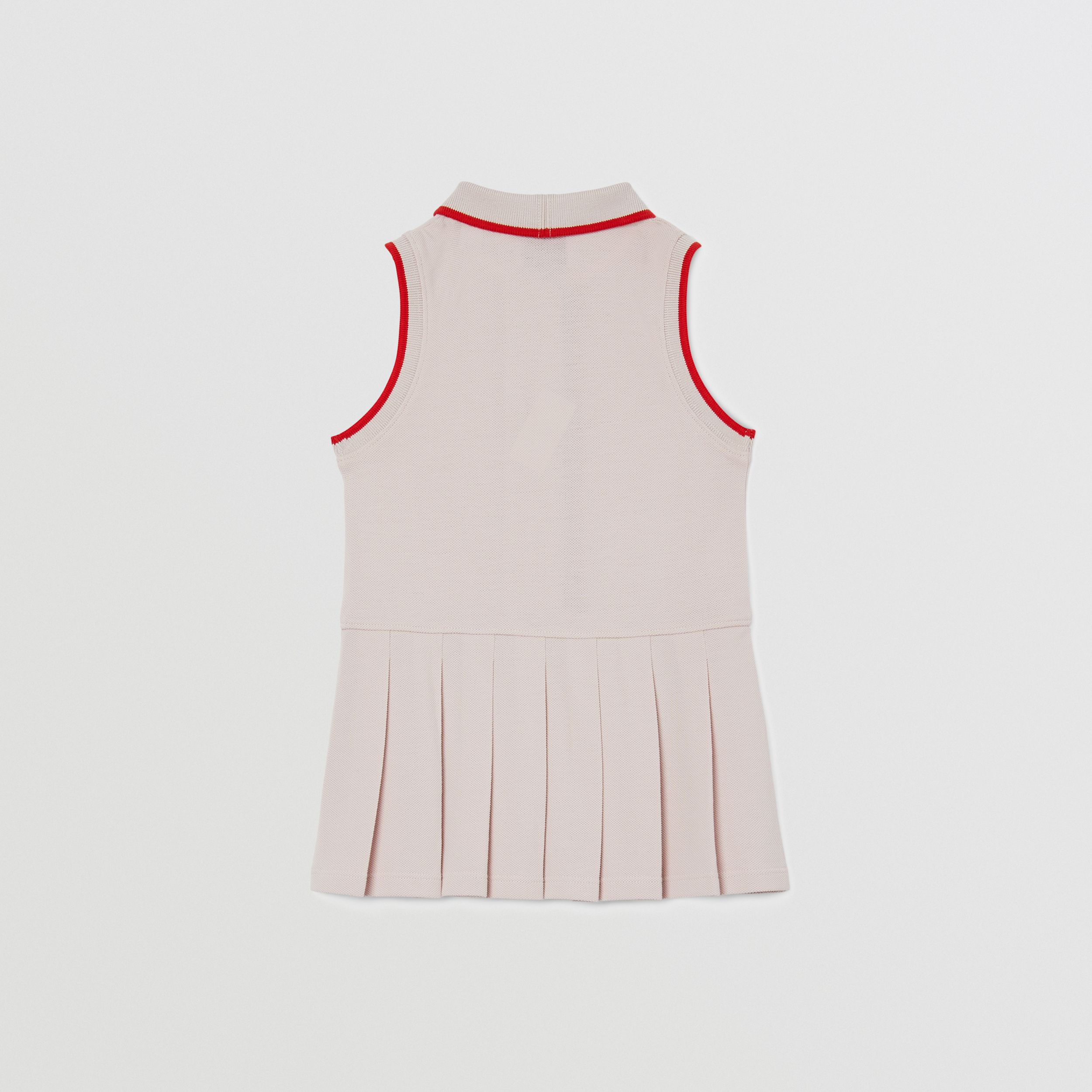 Icon Stripe Detail Cotton Sleeveless Polo Shirt Dress in Pastel Pink - Children | Burberry United Kingdom - 4
