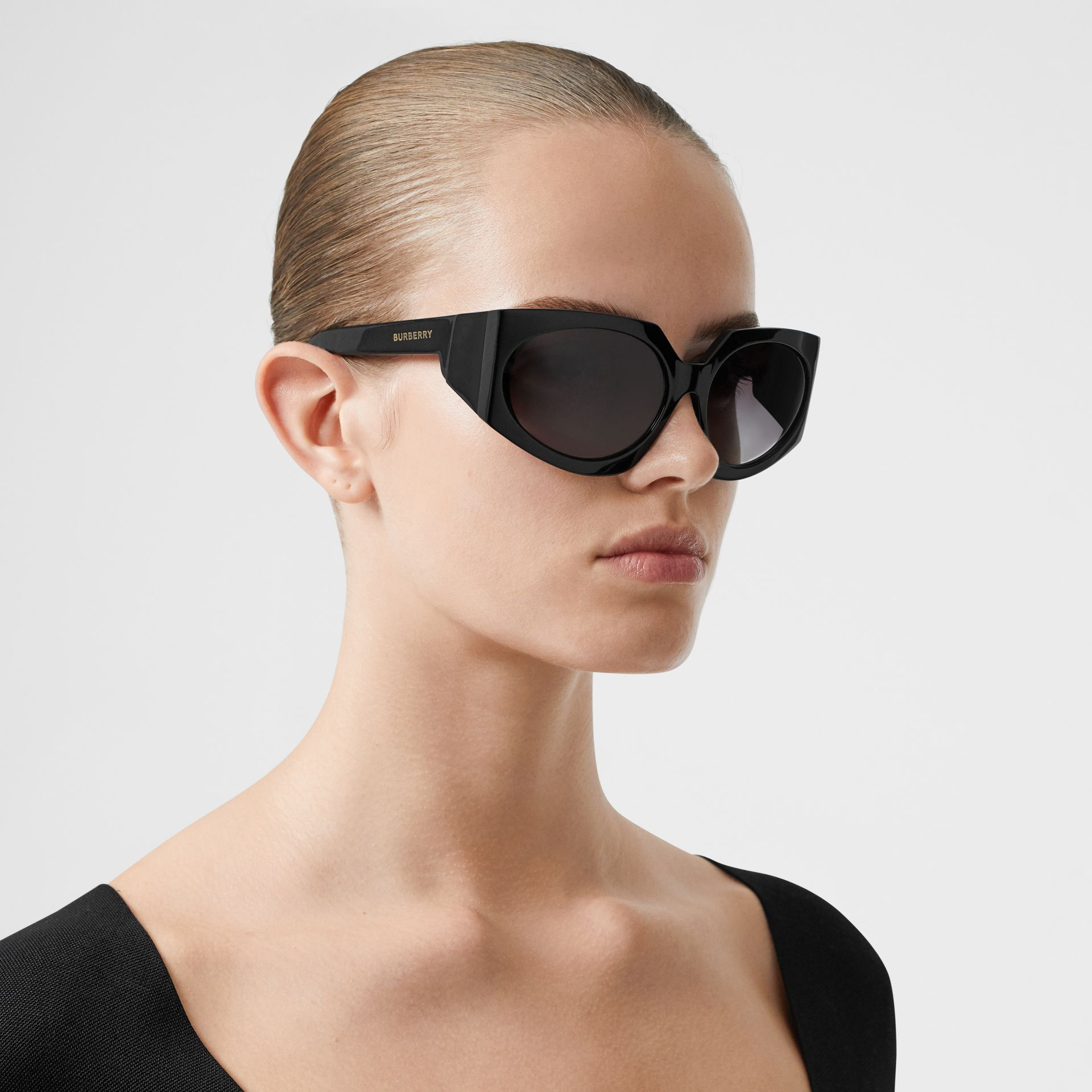 Geometric Frame Sunglasses in Black - Women | Burberry Canada - gallery image 2