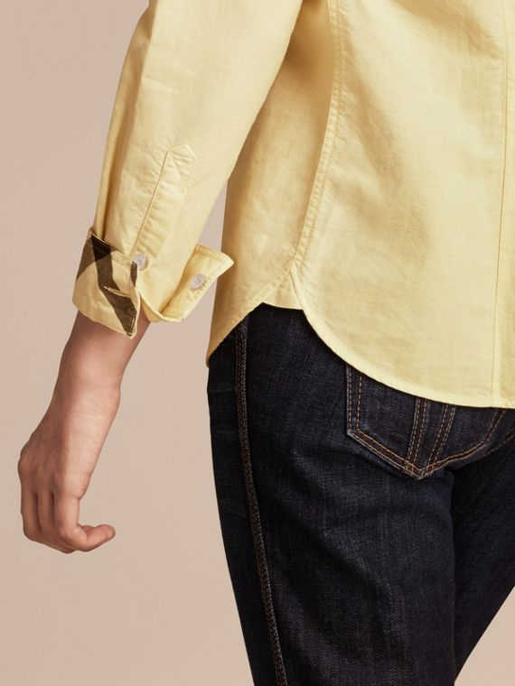 Pale yellow Check Detail Cotton Shirt Pale Yellow - cell image 3