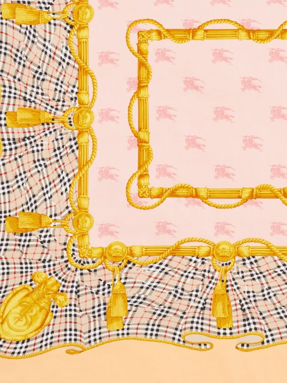 Archive Scarf Print Silk Square Scarf in Apricot Pink | Burberry United Kingdom - cell image 1