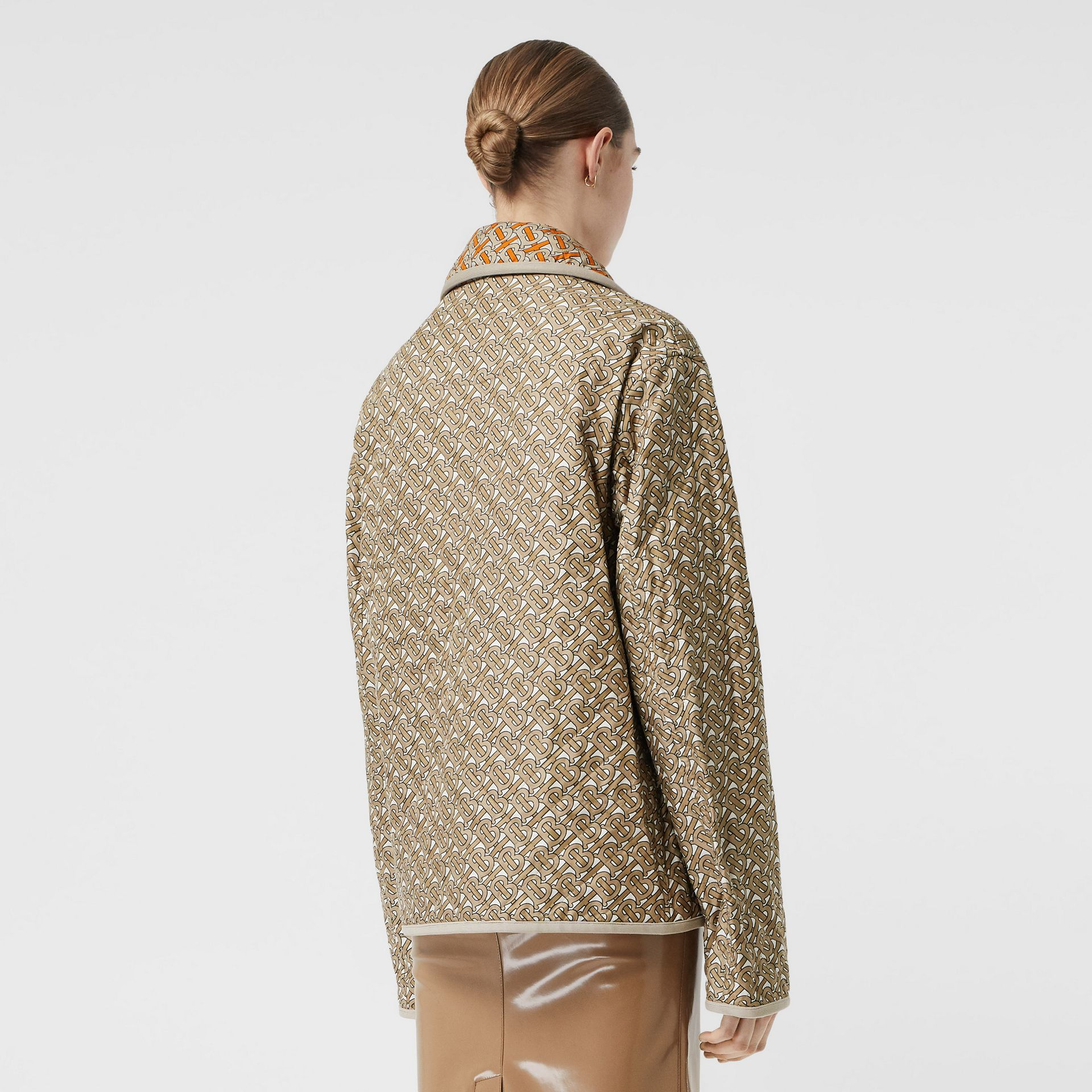 Monogram Print Quilted Silk Jacket in Archive Beige - Women | Burberry - gallery image 2