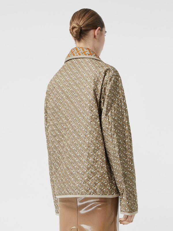 Monogram Print Quilted Silk Jacket in Archive Beige - Women | Burberry - cell image 2