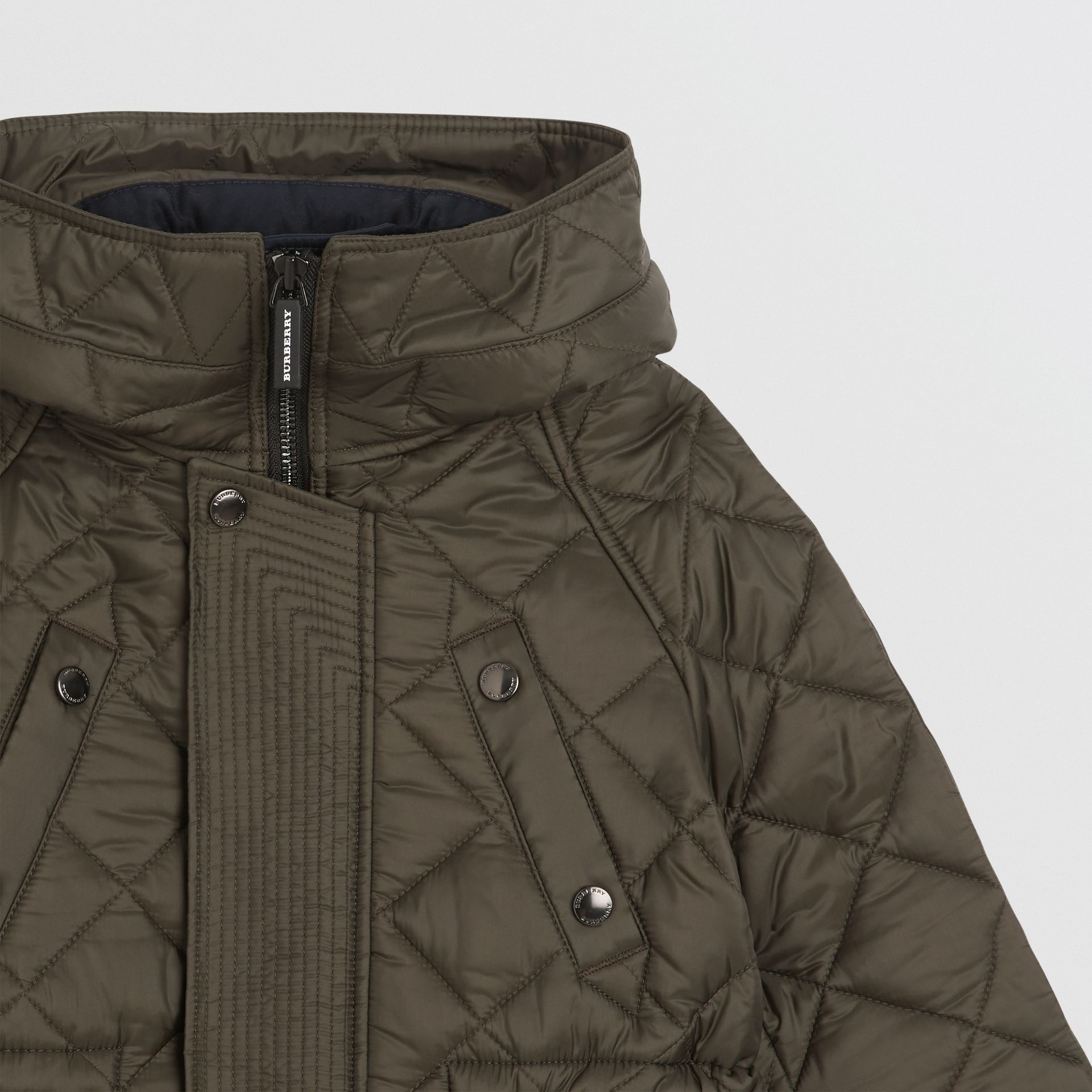 Diamond Quilted Hooded Jacket in Oregano | Burberry - gallery image 4