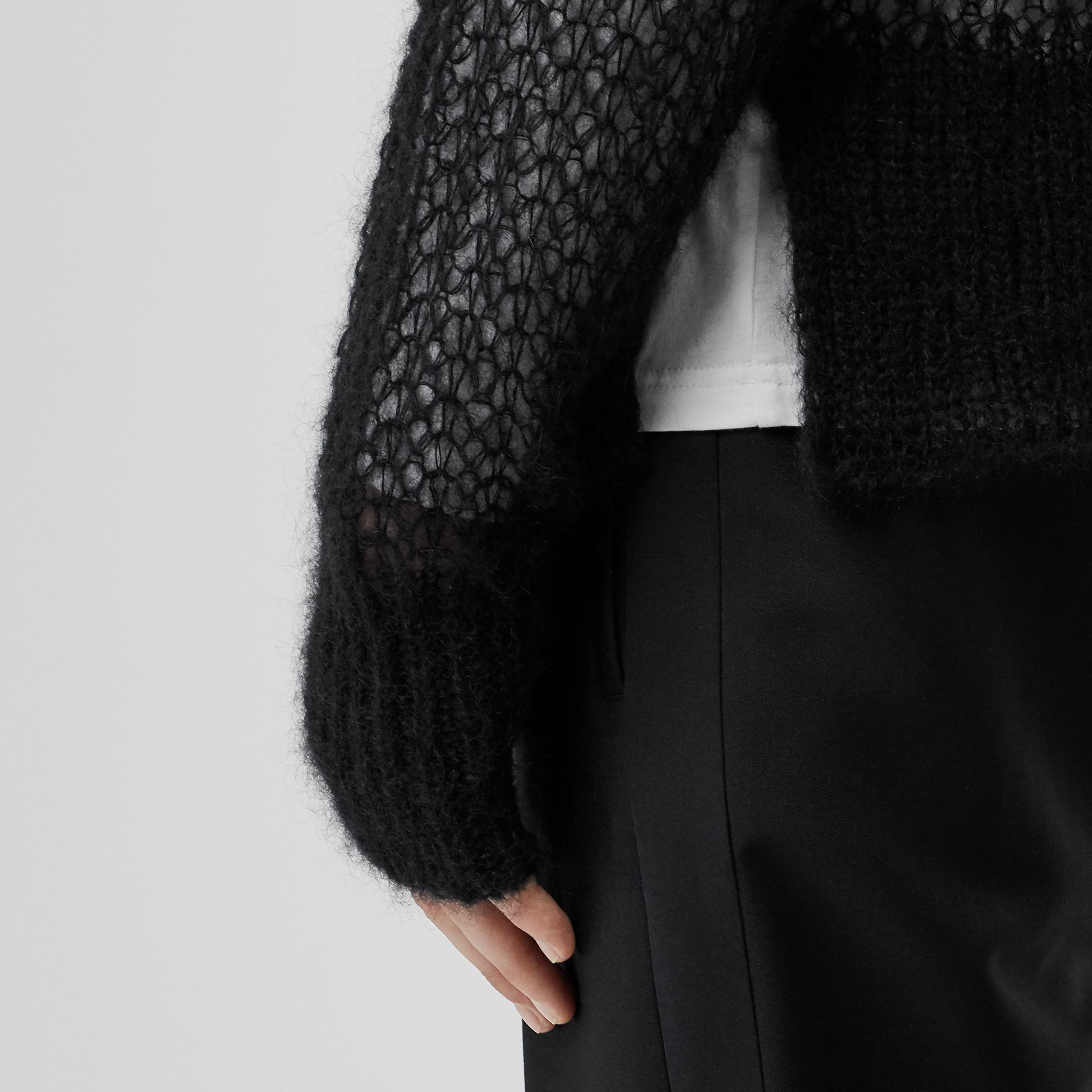Open Knit Mohair Wool Blend Sweater in Black - Men | Burberry United Kingdom - gallery image 1