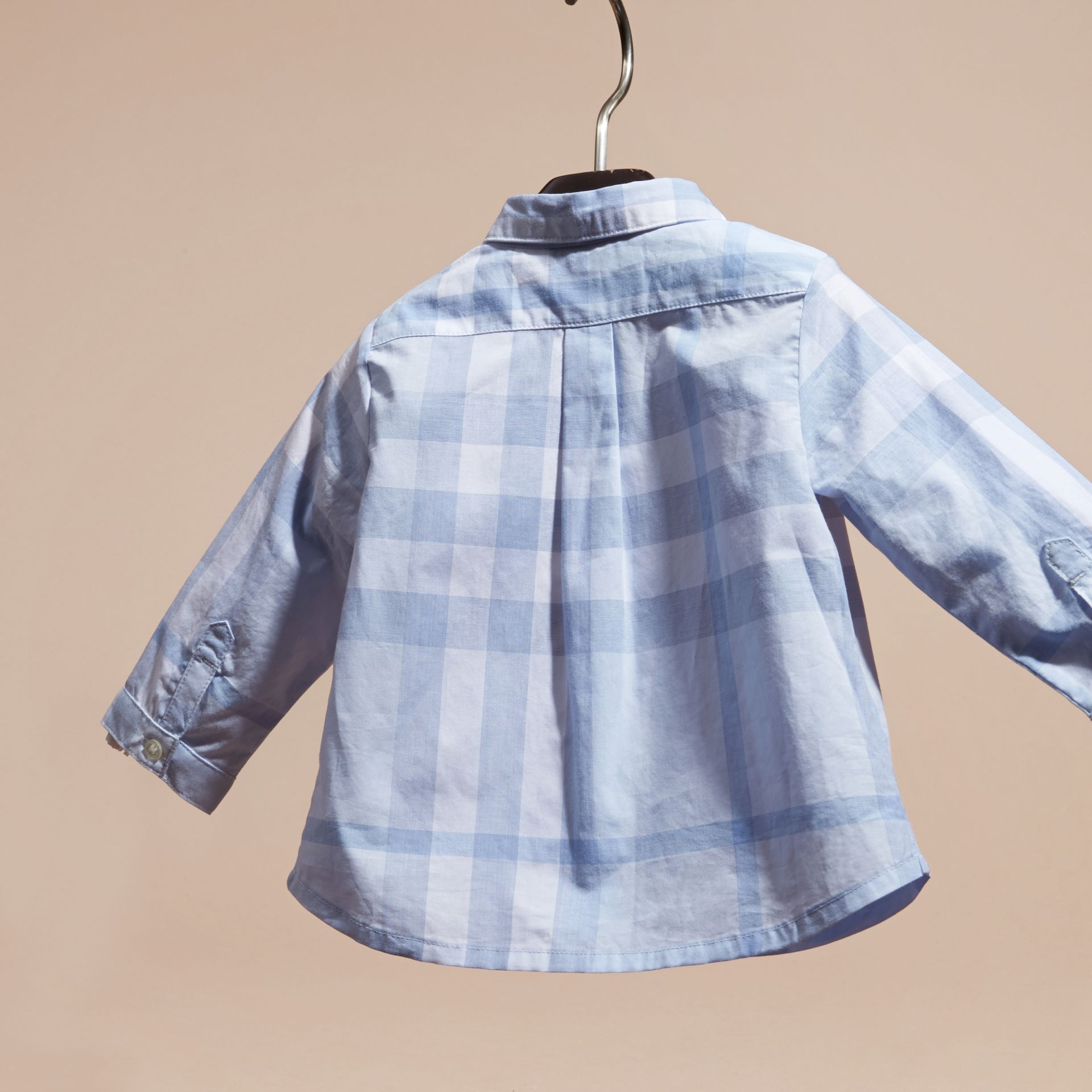 Washed Check Cotton Shirt Ice Blue - gallery image 4