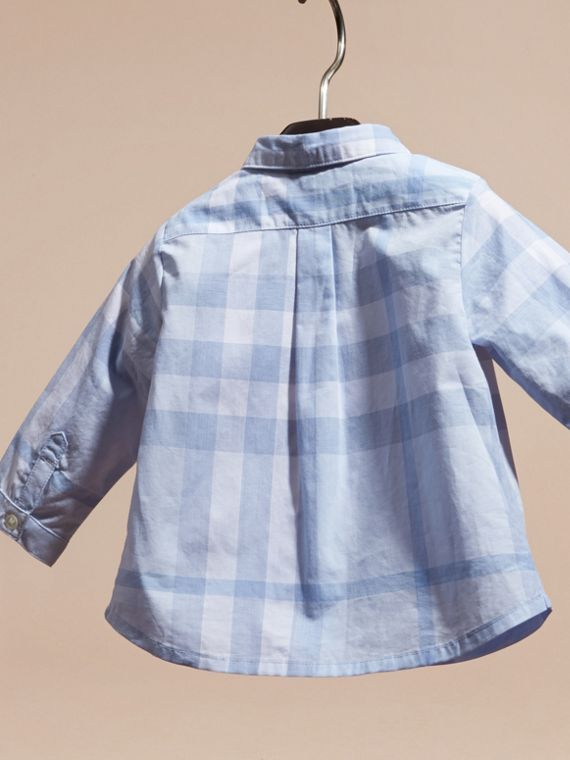 Washed Check Cotton Shirt Ice Blue - cell image 3
