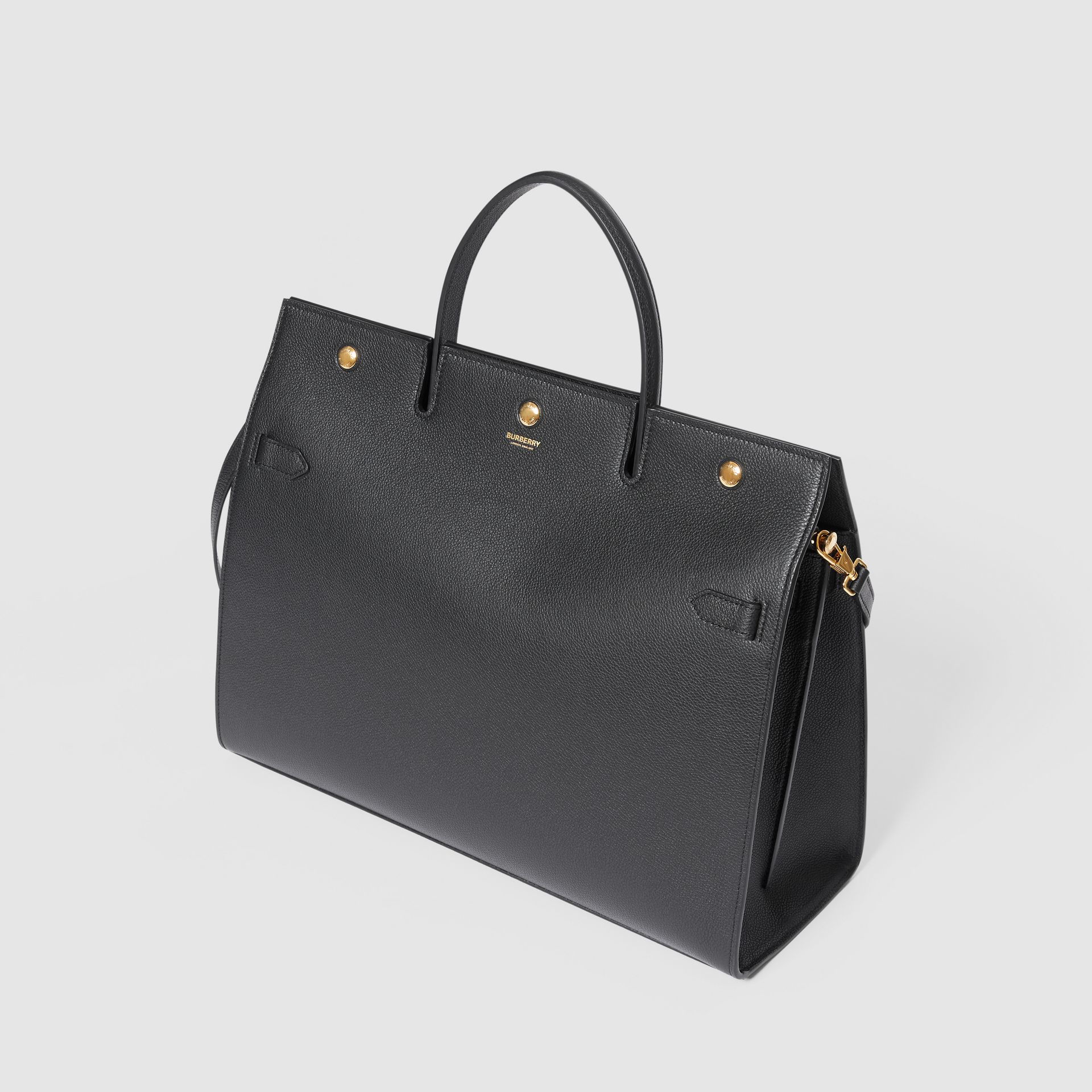 Large Leather Title Bag in Black - Women | Burberry - gallery image 3