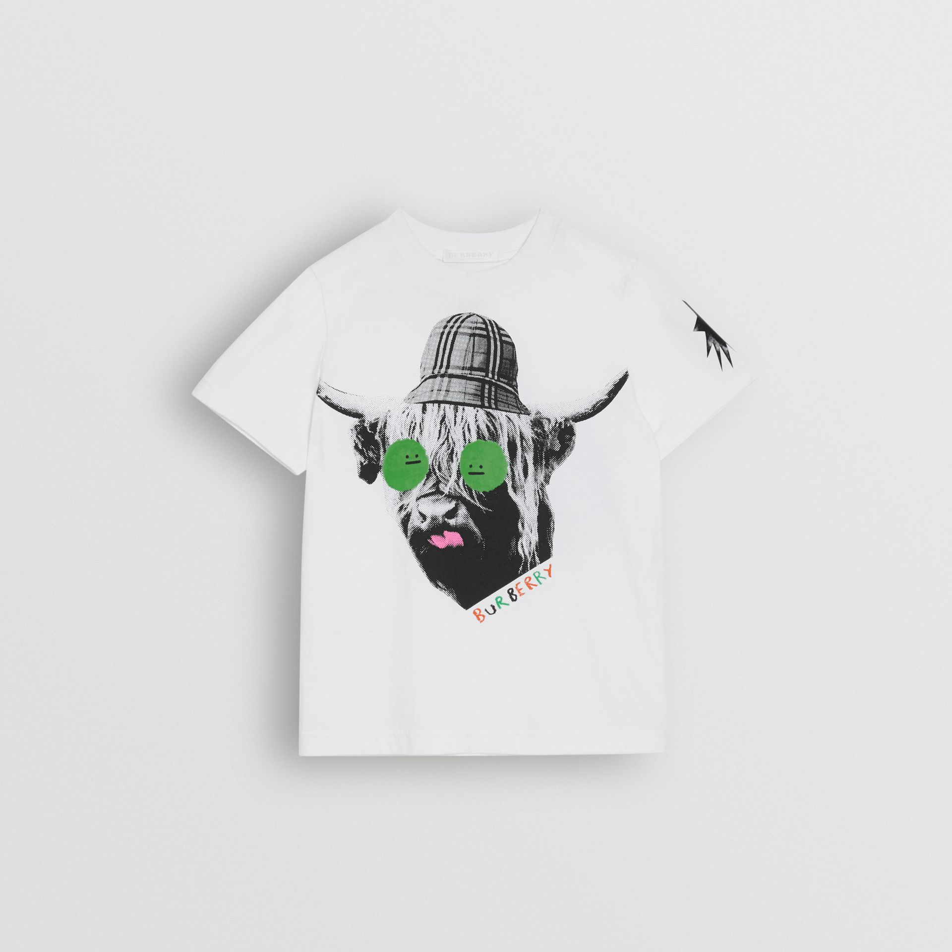 Highland Cow Print Cotton T-shirt in White - Children | Burberry - gallery image 0