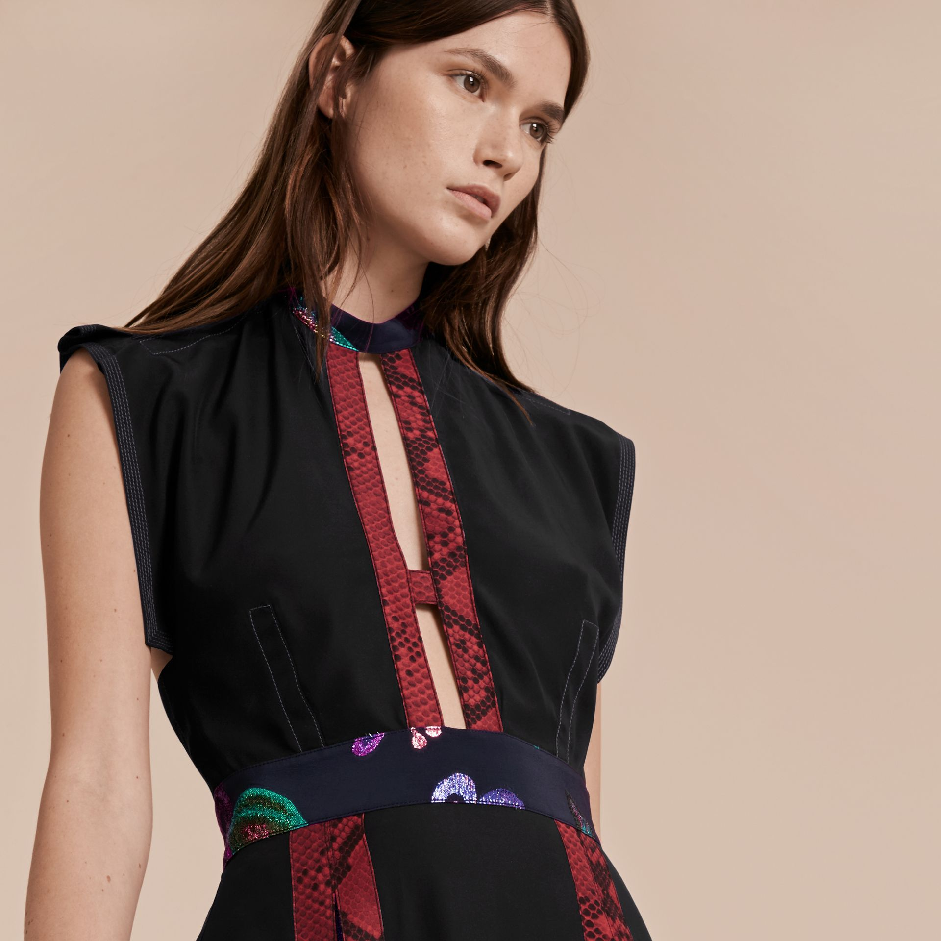 Black Silk Dress with Floral and Python Print Panels - gallery image 6