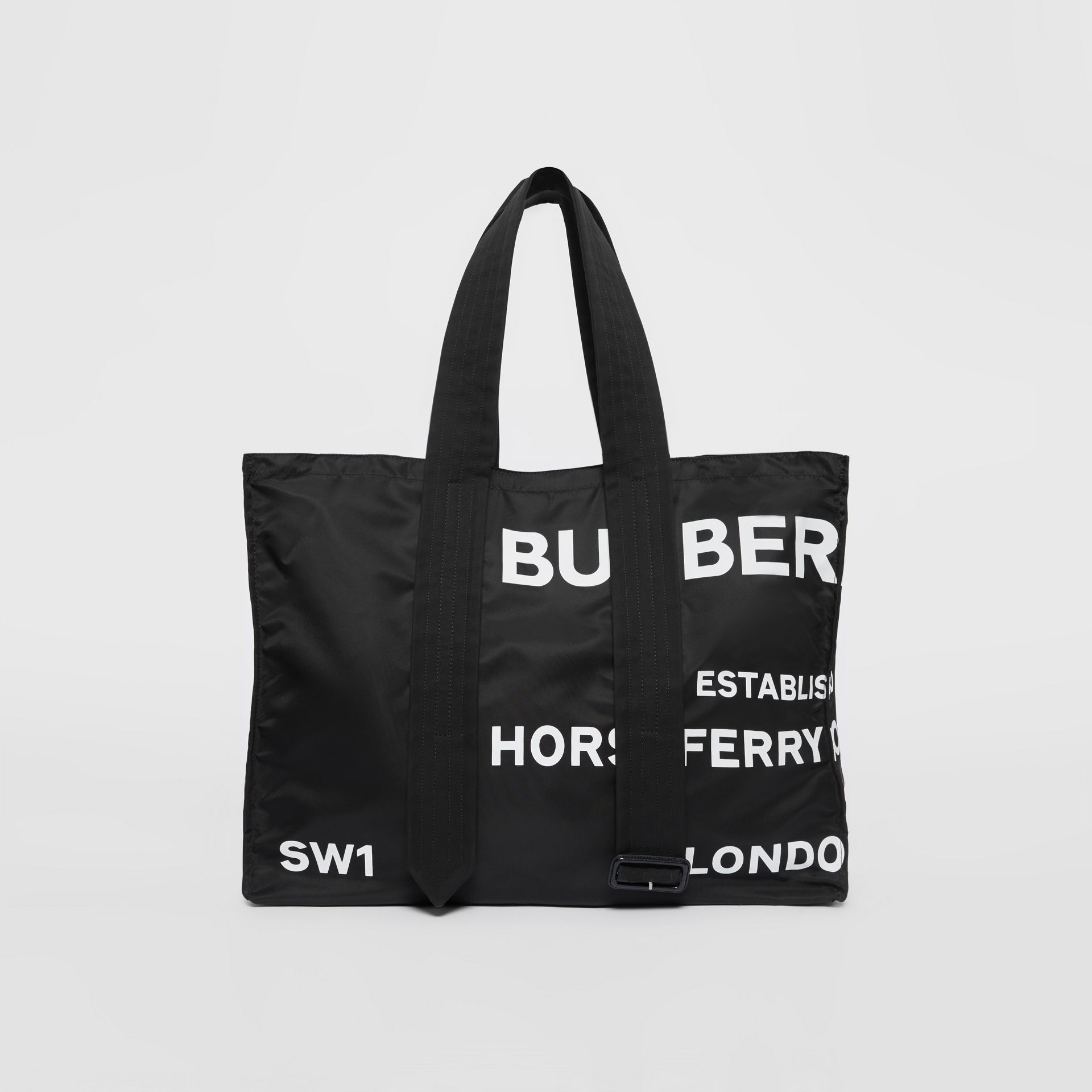 Belt Detail Horseferry Print Nylon Tote in Black/white - Men | Burberry Australia - gallery image 0