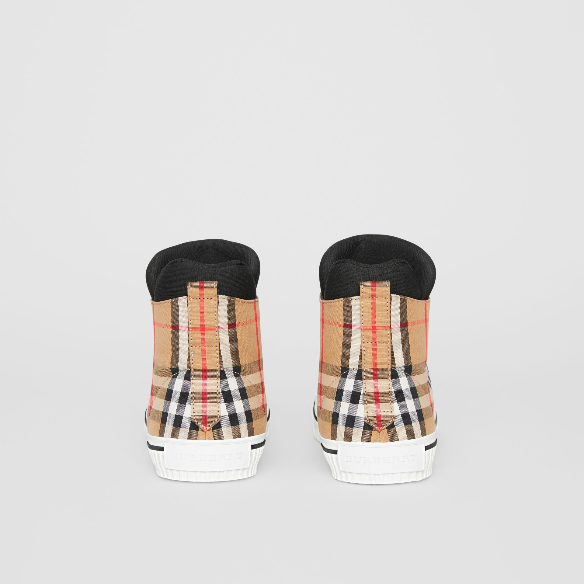 Vintage Check High-top Sneakers in Antique Yellow - Men | Burberry - gallery image 3