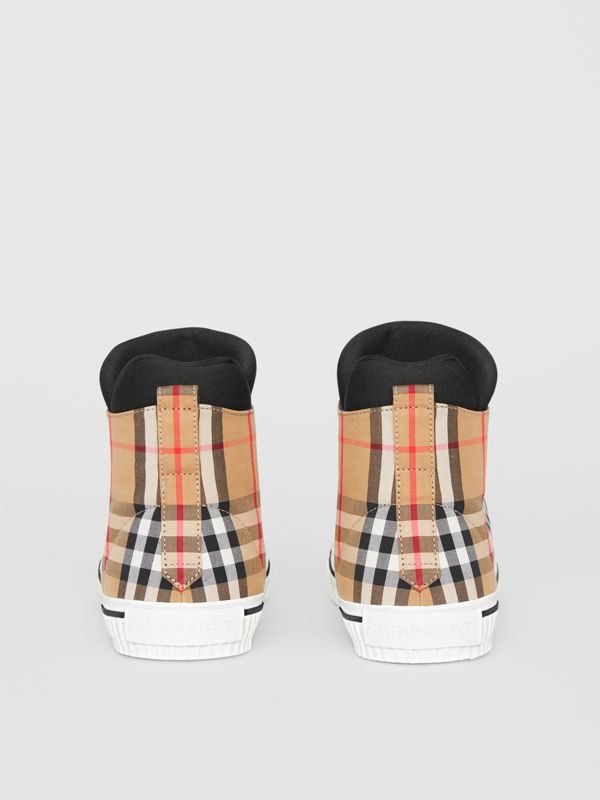 Vintage Check High-top Sneakers in Antique Yellow - Men | Burberry Australia - cell image 3