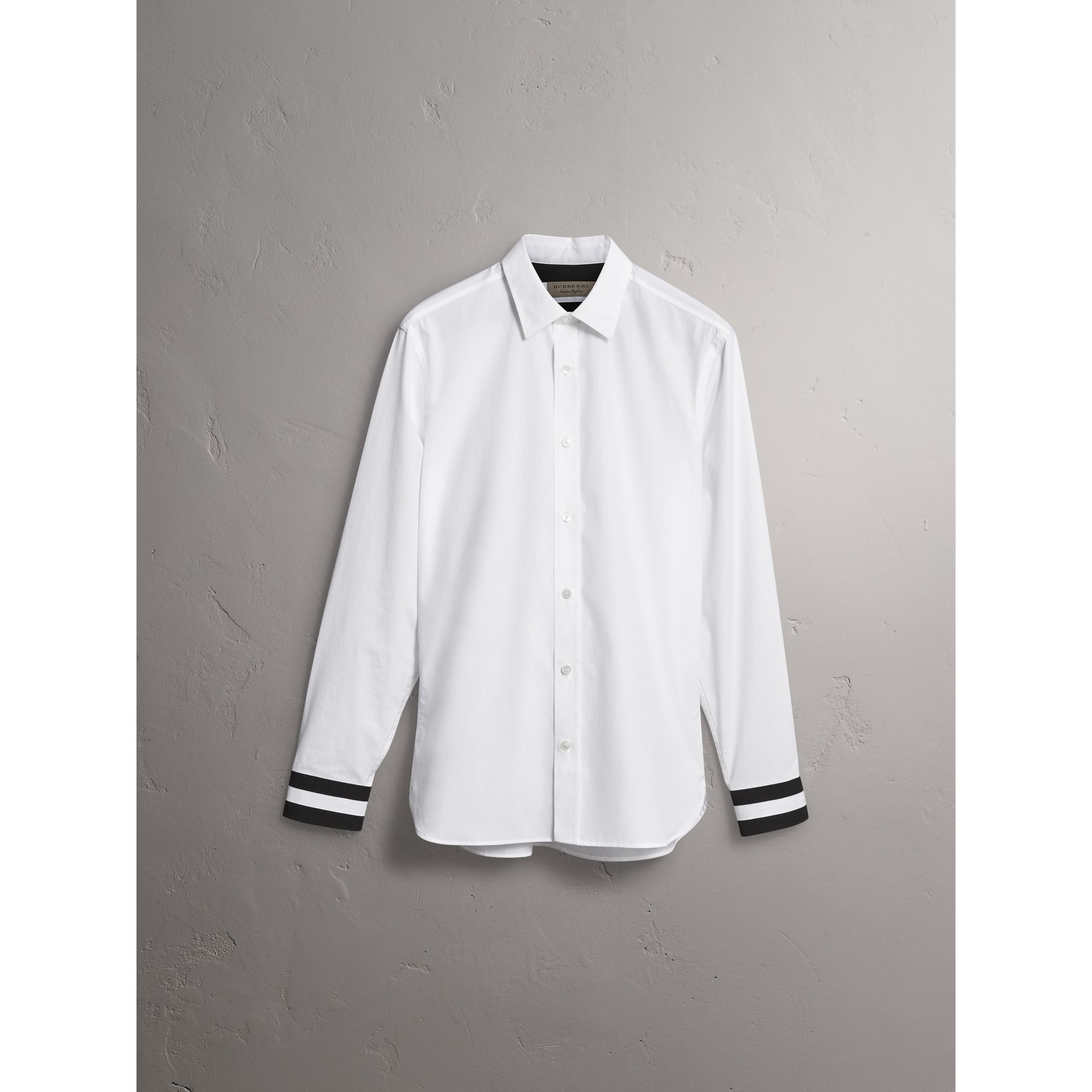 Striped Cuff Stretch Cotton Shirt in White - Men | Burberry - gallery image 3