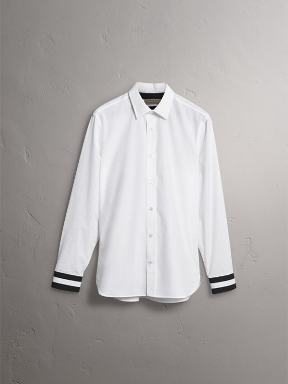 Striped Cuff Stretch Cotton Shirt in White - Men | Burberry Hong Kong - cell image 3