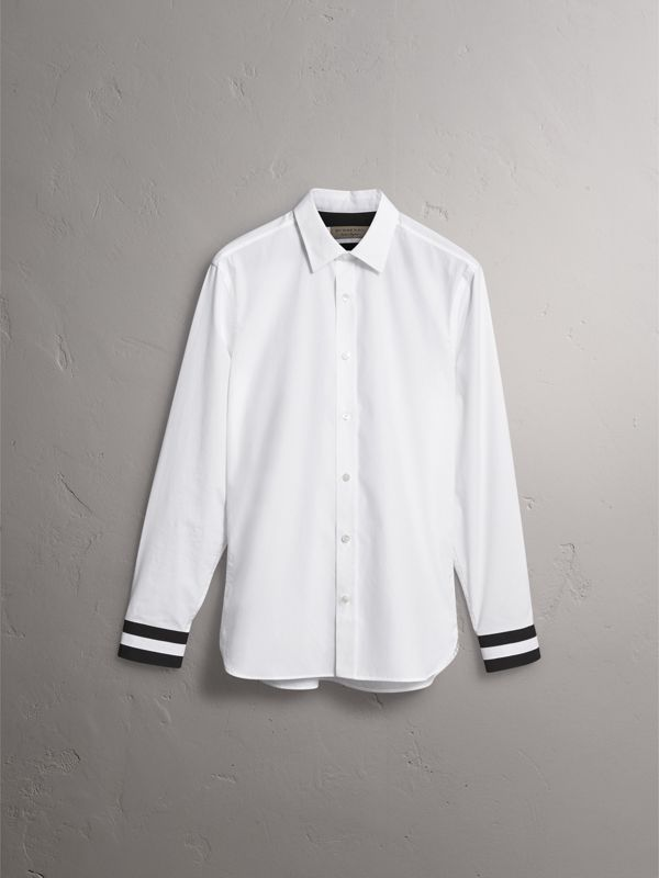 Striped Cuff Stretch Cotton Shirt in White - Men | Burberry - cell image 3