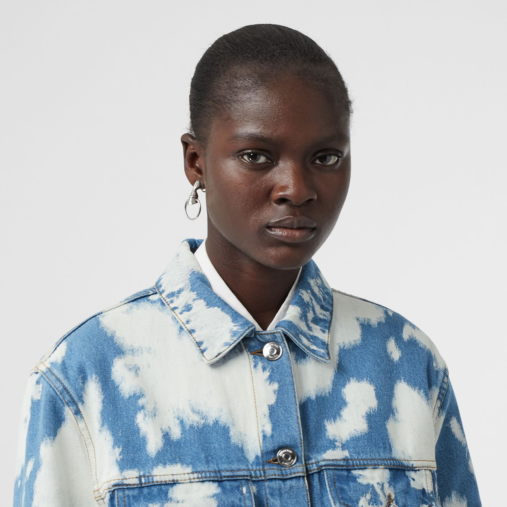 Monogram Motif Bleached Denim Jacket in Blue - Women | Burberry - gallery image 1