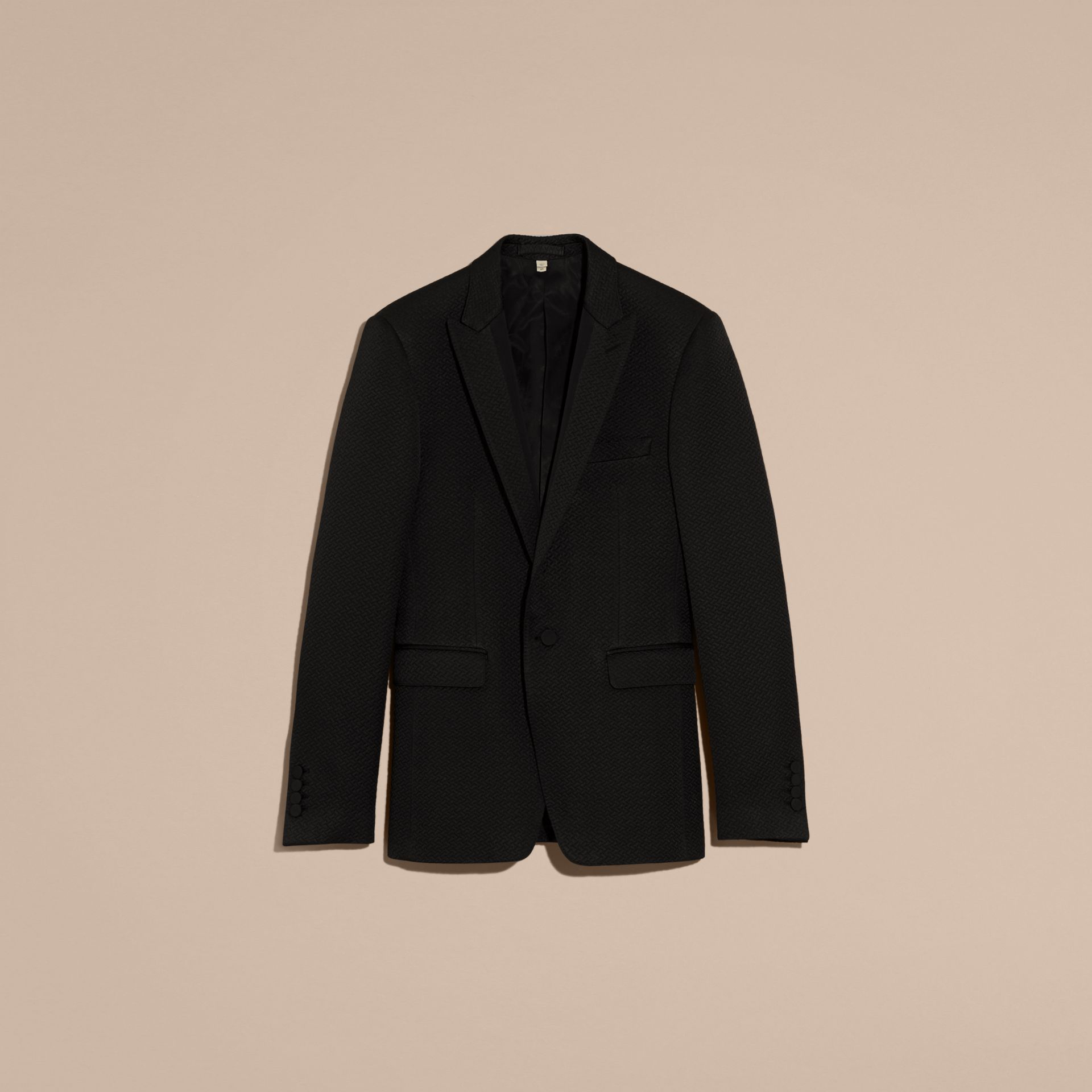 Black Slim Fit Textured Cotton Silk Blend Tailored Jacket - gallery image 4