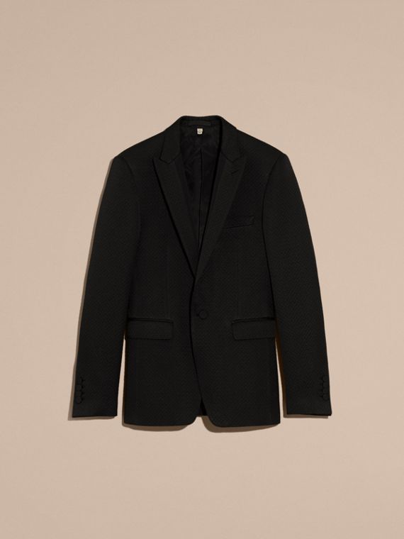 Black Slim Fit Textured Cotton Silk Blend Tailored Jacket - cell image 3