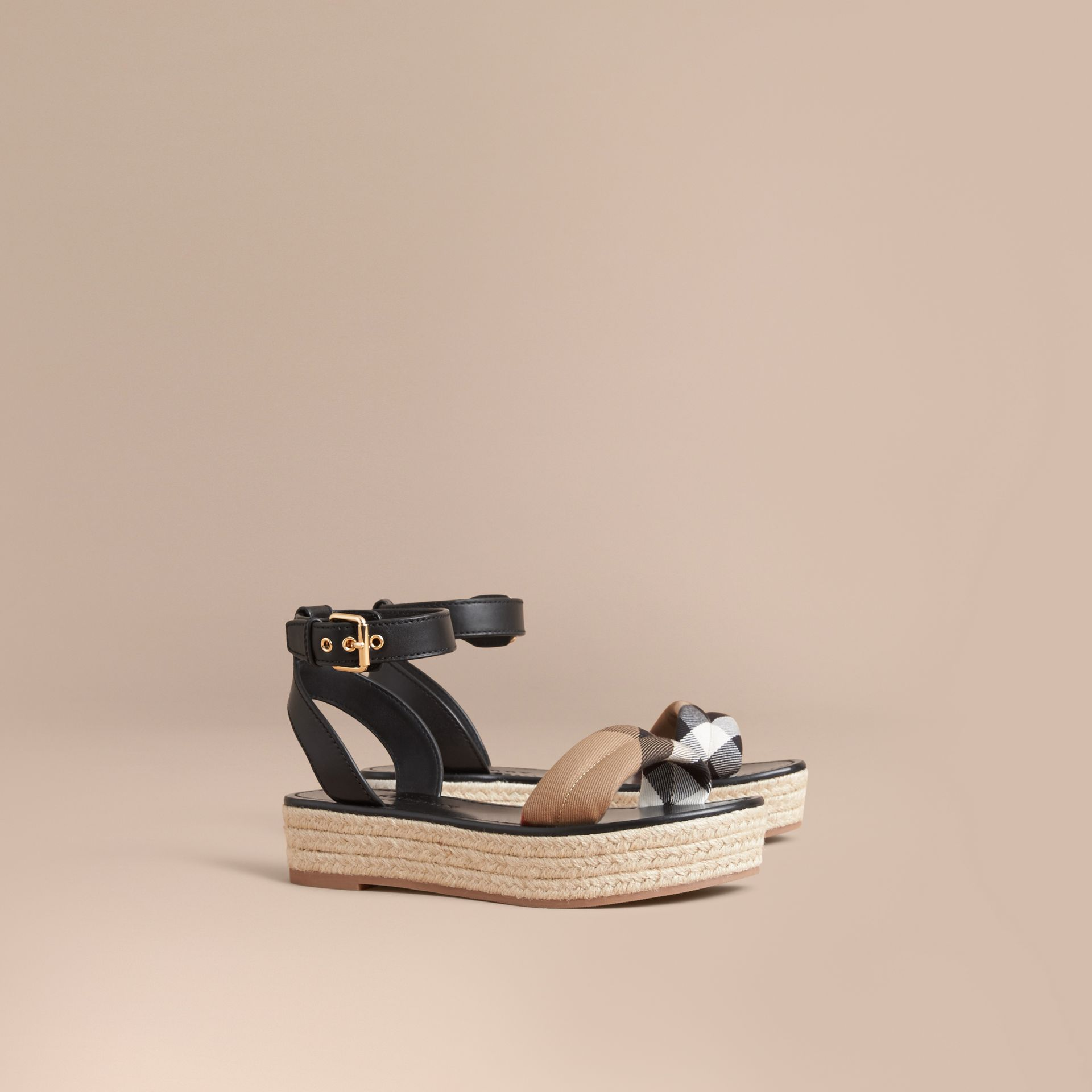 Leather and House Check Espadrille Platform Sandals in Black - gallery image 1