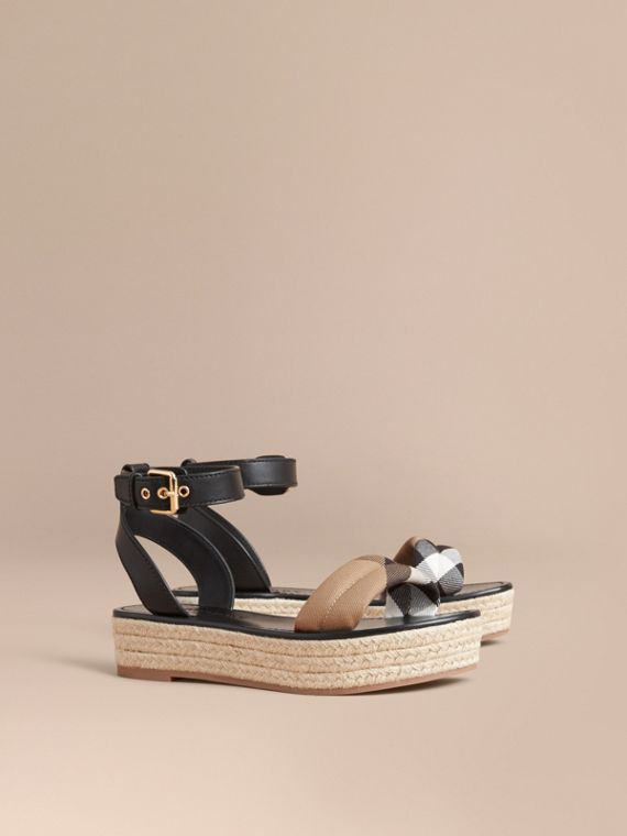 Leather and House Check Espadrille Platform Sandals Black