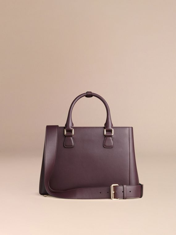 Dark amethyst The Medium Saddle Bag in Smooth Bonded Leather Dark Amethyst - cell image 3