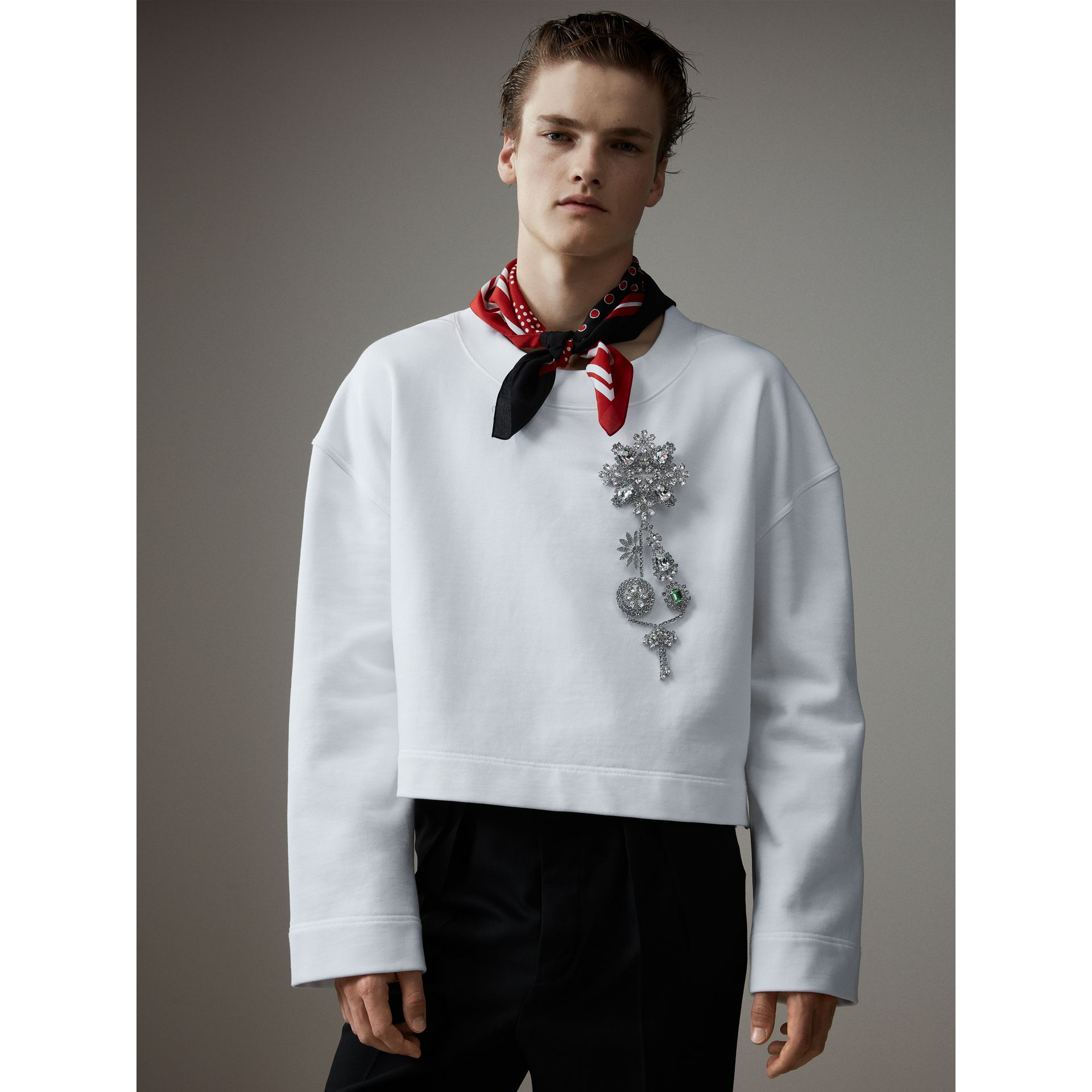 Cotton Cropped Sweatshirt with Crystal Brooch in Optic White - Men | Burberry - gallery image 1