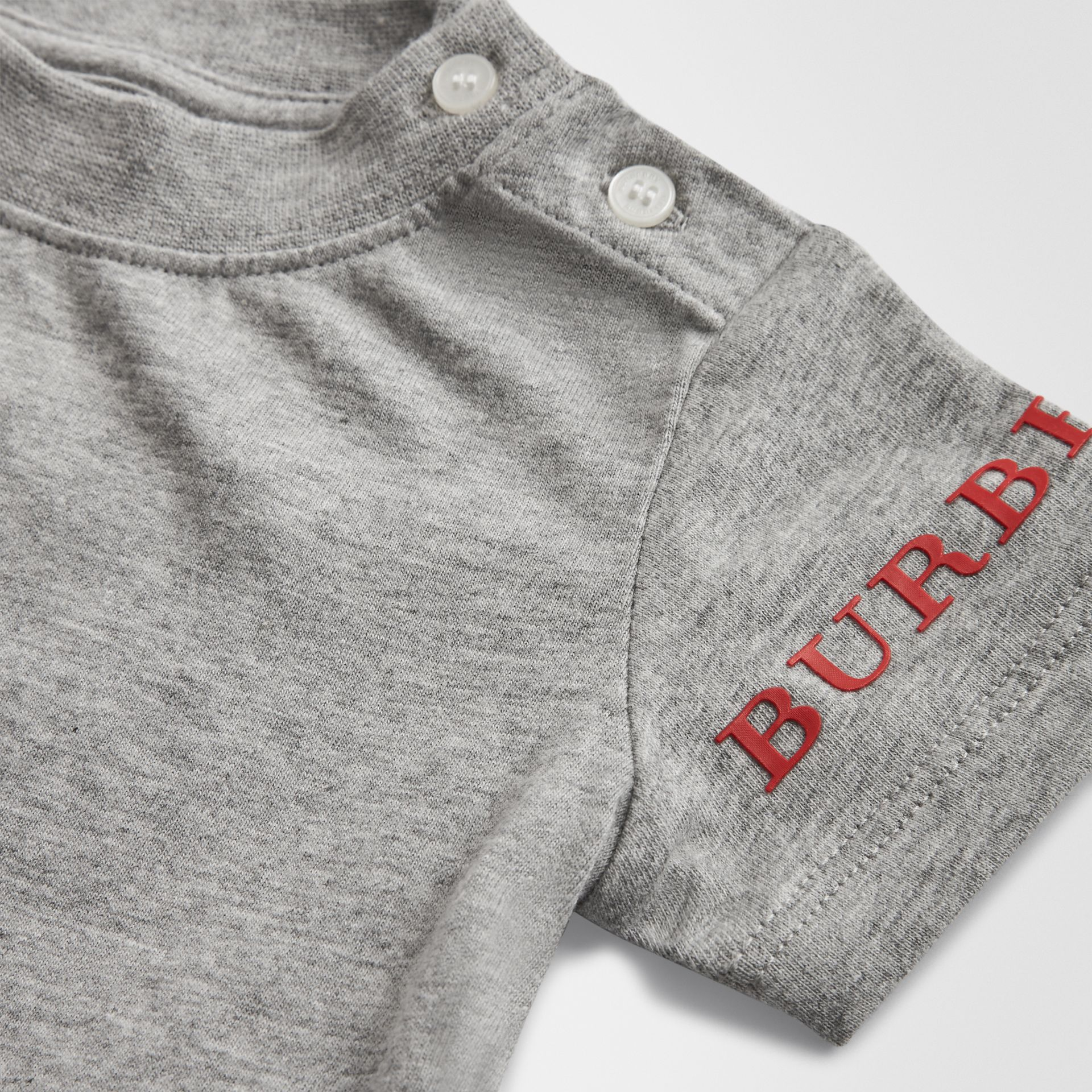 Logo Print Cotton T-shirt in Grey Melange - Children | Burberry Hong Kong - gallery image 1