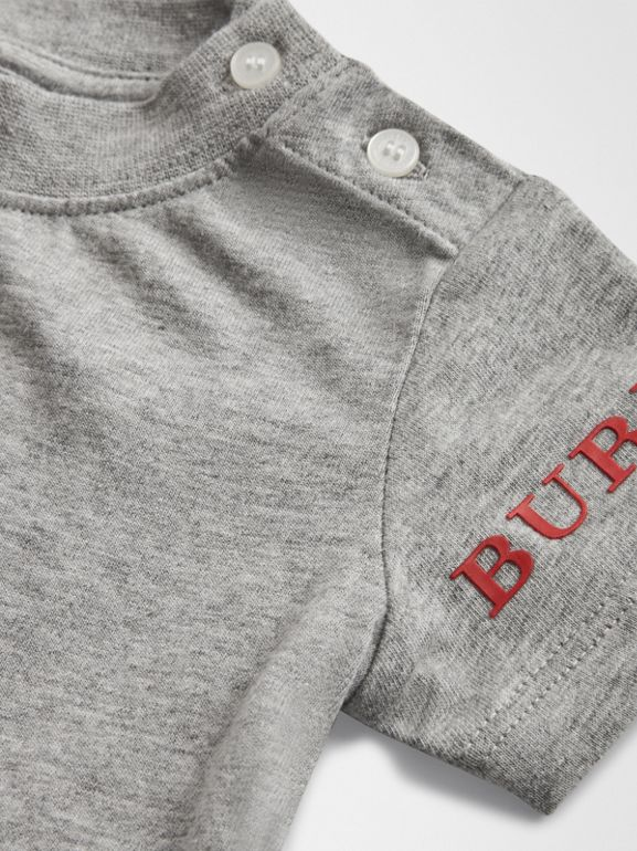 Logo Print Cotton T-shirt in Grey Melange - Children | Burberry Hong Kong - cell image 1