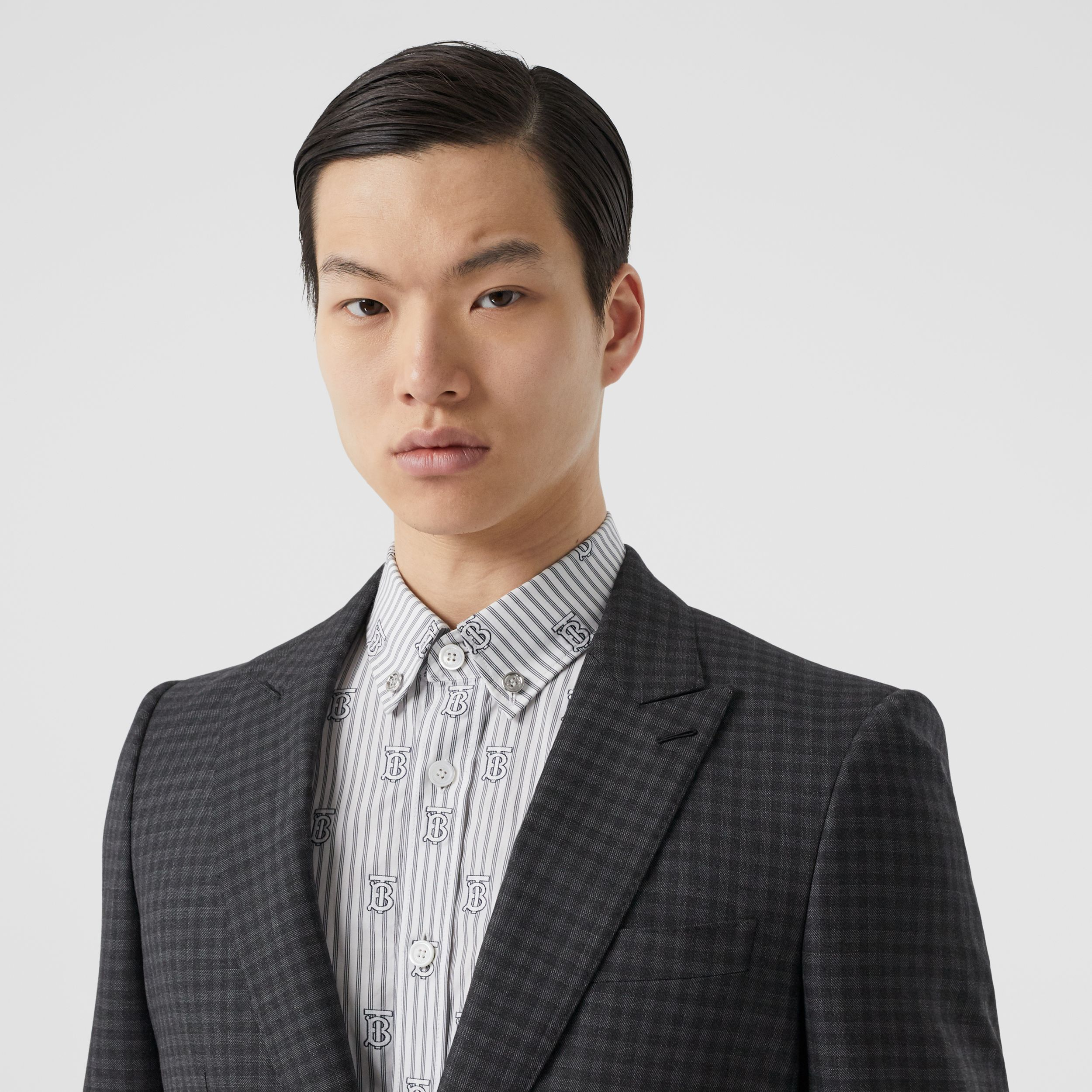 English Fit Gingham Wool Suit in Charcoal - Men | Burberry - 2