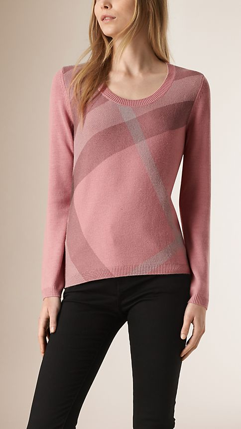 Pale rose pink Check Detail Wool Cashmere Sweater - Image 1