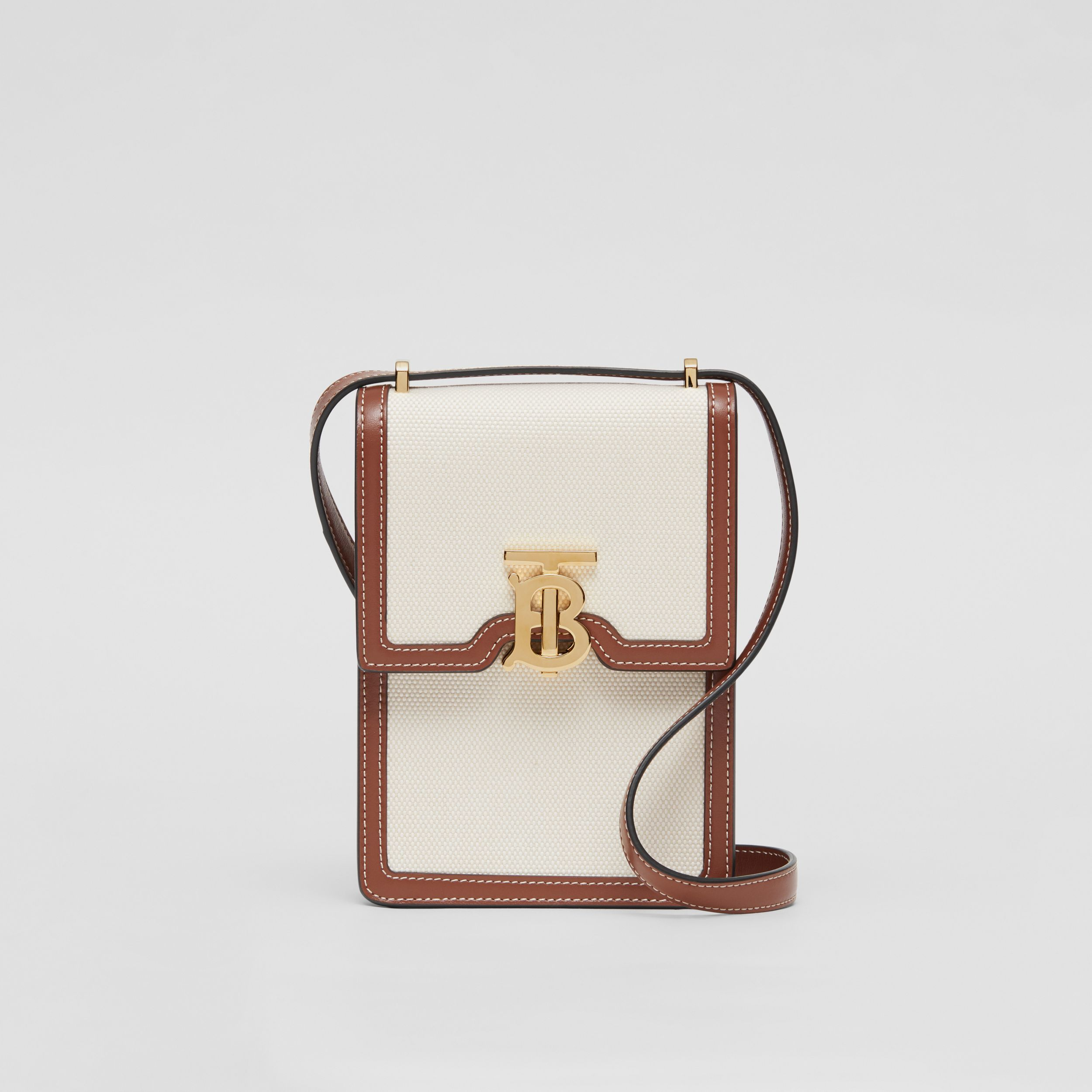 Cotton Canvas and Leather Robin Bag in White/tan - Women | Burberry Australia - 1
