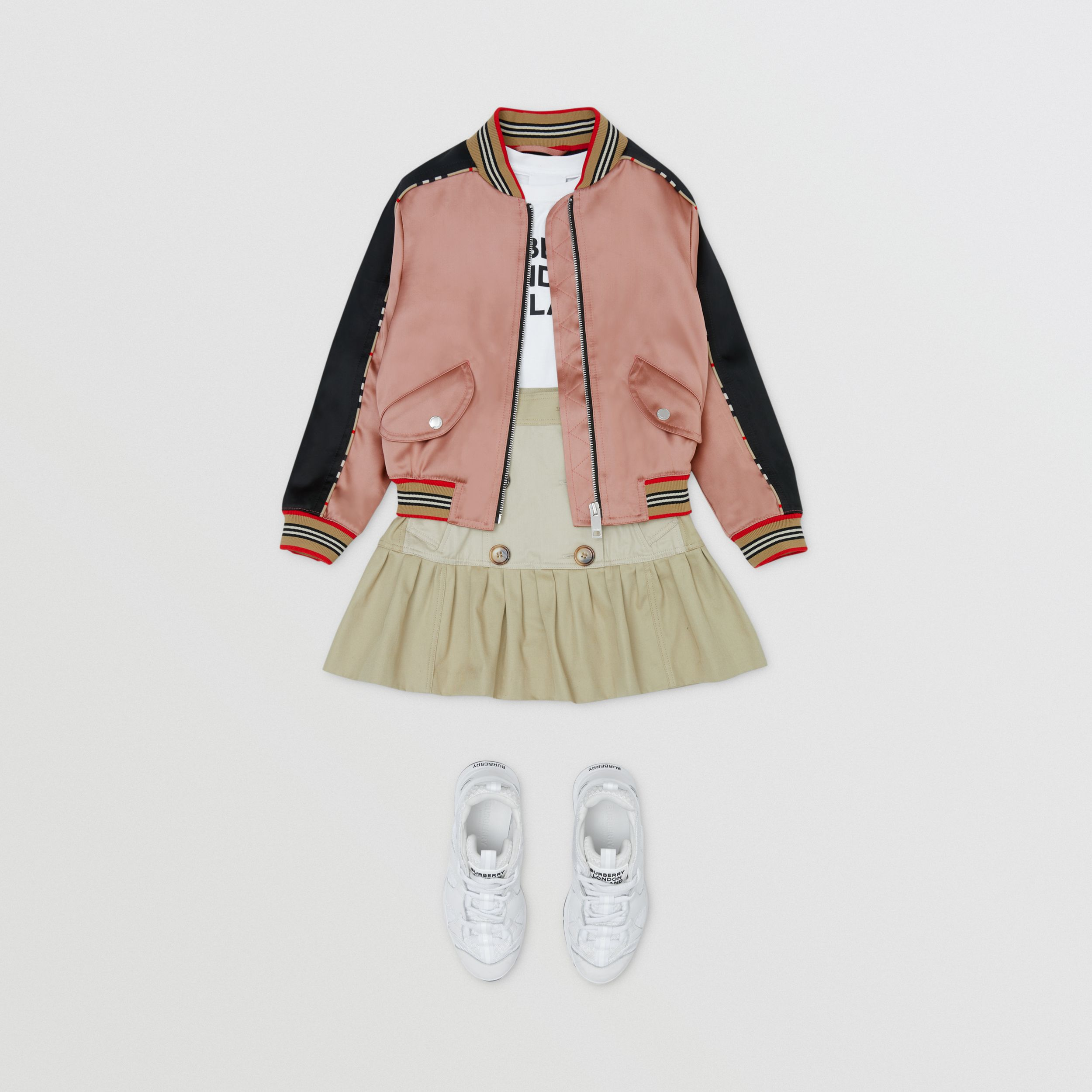 Deer Motif Sateen Bomber Jacket in Dusty Pink | Burberry - 3