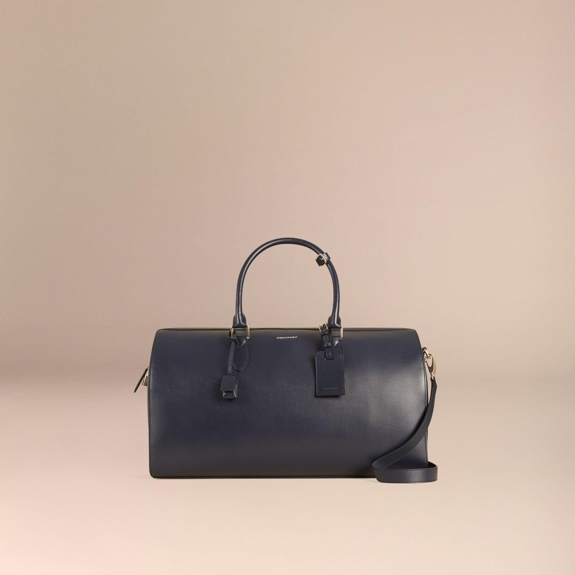 Dark navy London Leather Holdall Dark Navy - gallery image 8