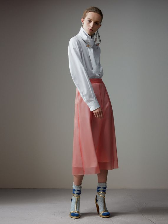 Silk-lined Plastic A-line Skirt in Rose Pink