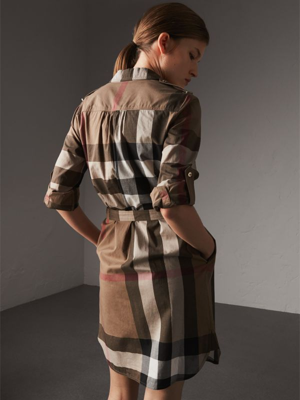 Check Cotton Shirt Dress in Taupe Brown - Women | Burberry - cell image 2