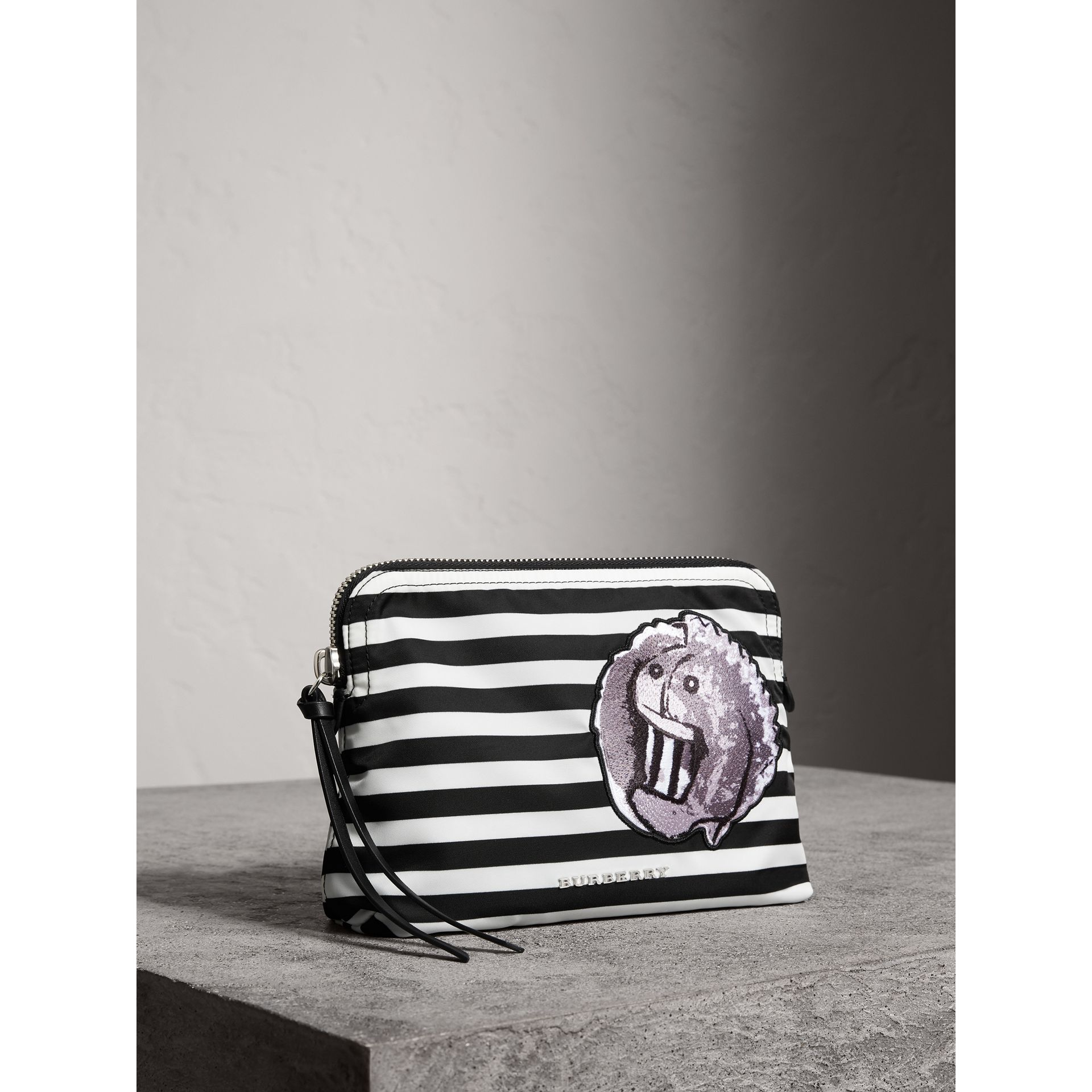 Large Striped Pouch with Pallas Heads Appliqué in Black/white - Women | Burberry - gallery image 5