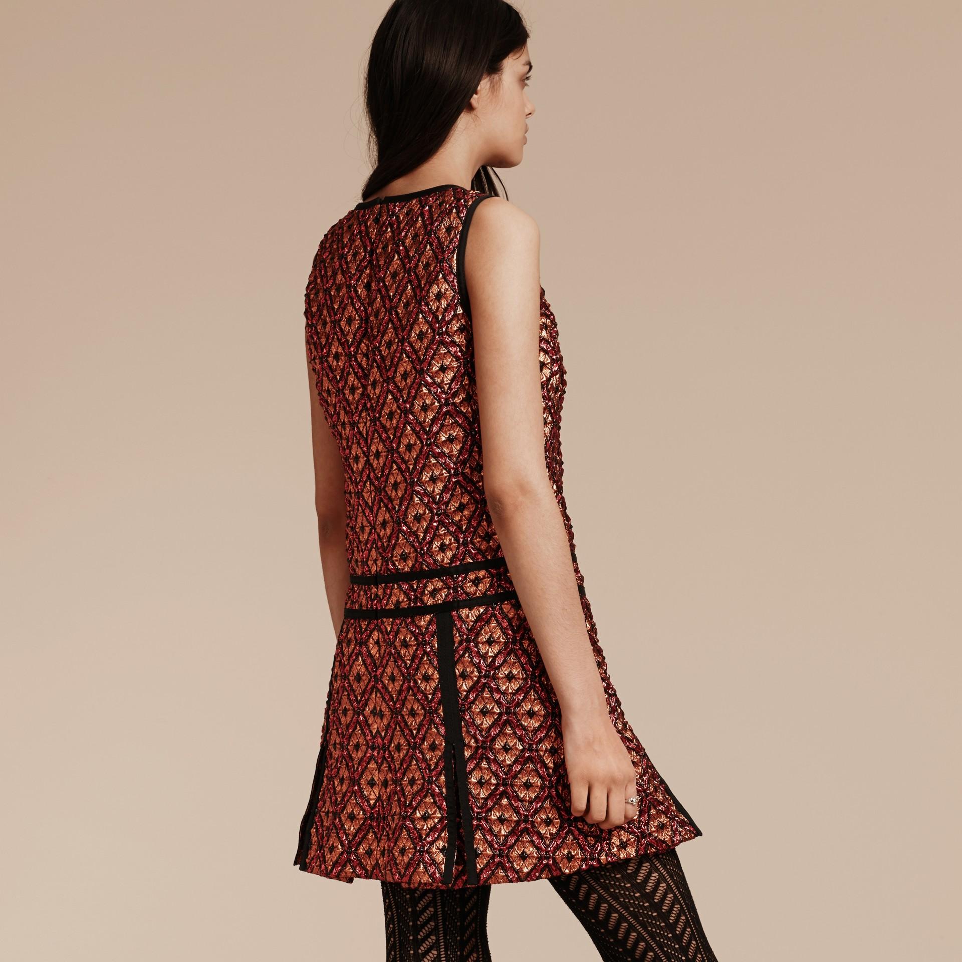 Cinnamon red Diamond Jacquard Sleeveless Dress - gallery image 3