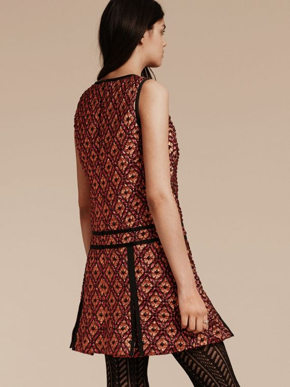 Cinnamon red Diamond Jacquard Sleeveless Dress - cell image 2