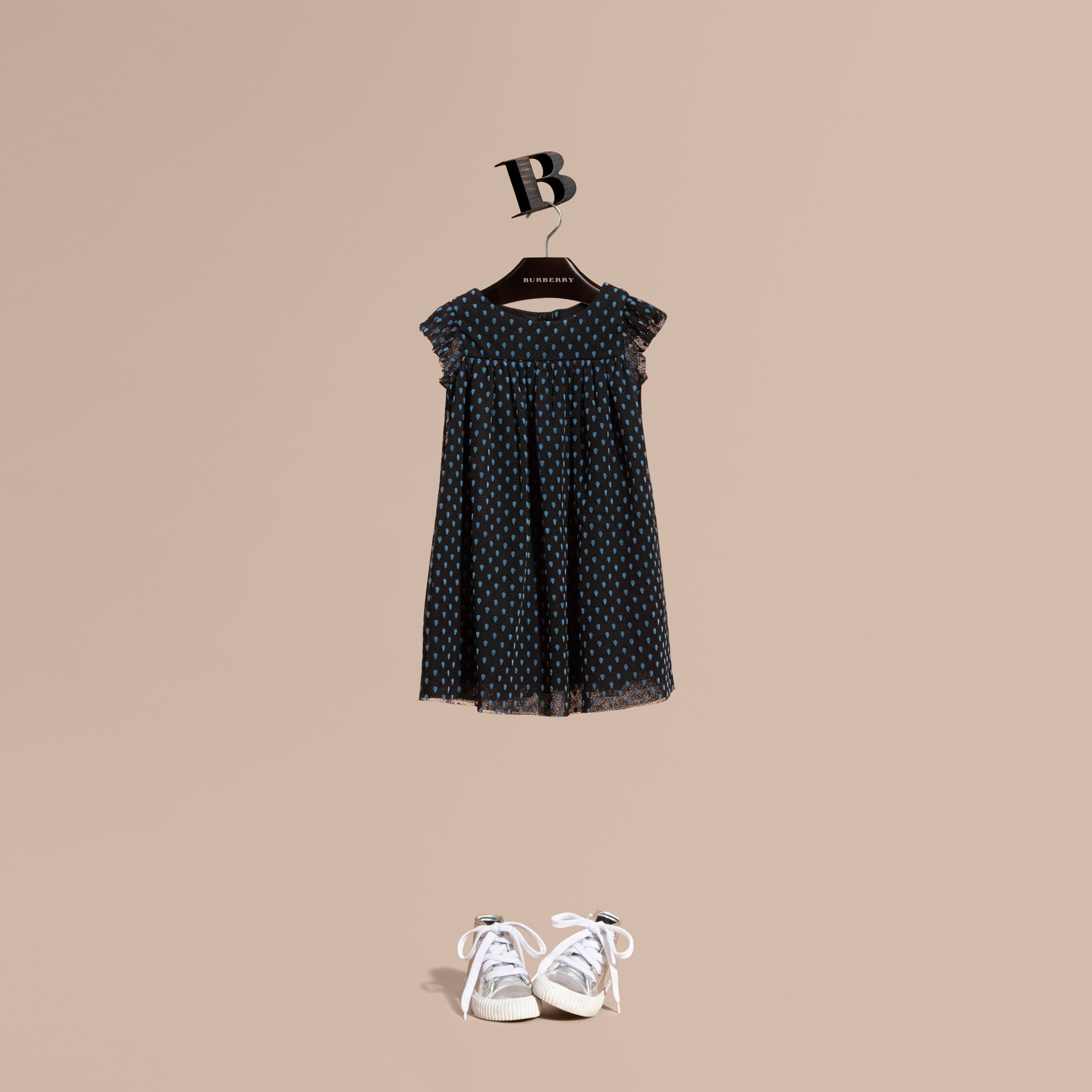Black Flocked Cotton Tulle Dress - gallery image 1