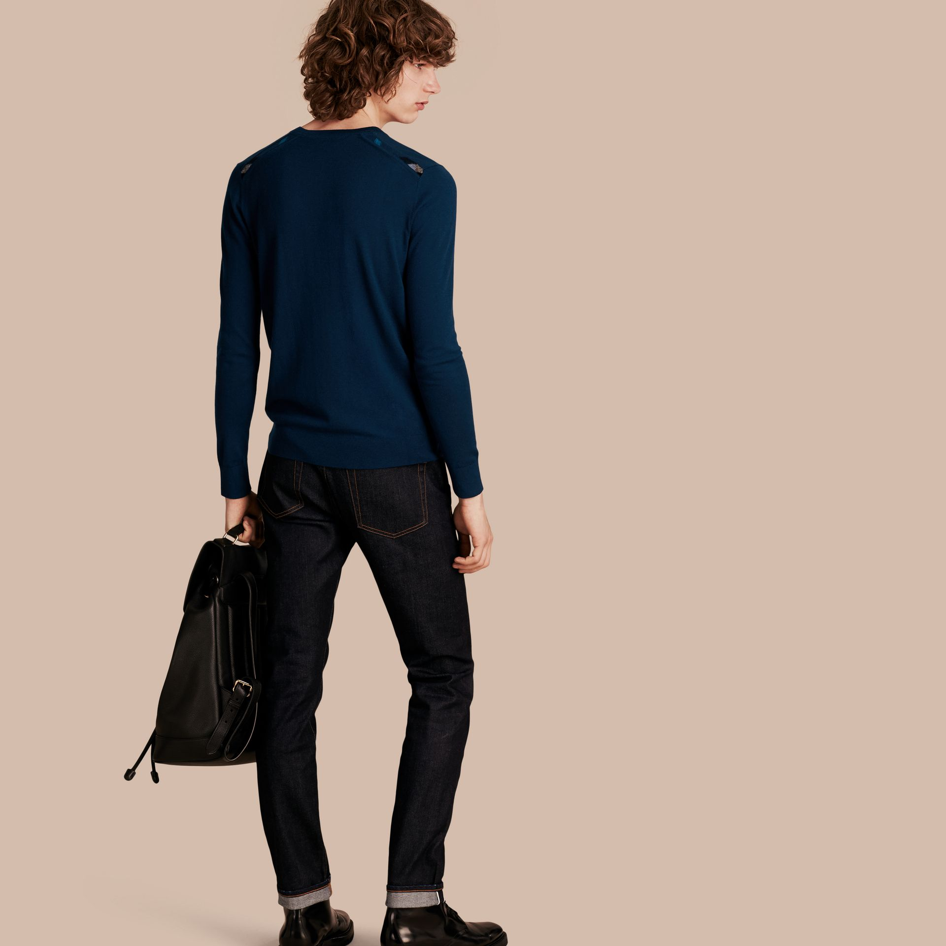 Lightweight Crew Neck Cashmere Sweater with Check Trim in Dark Teal - Men | Burberry - gallery image 1