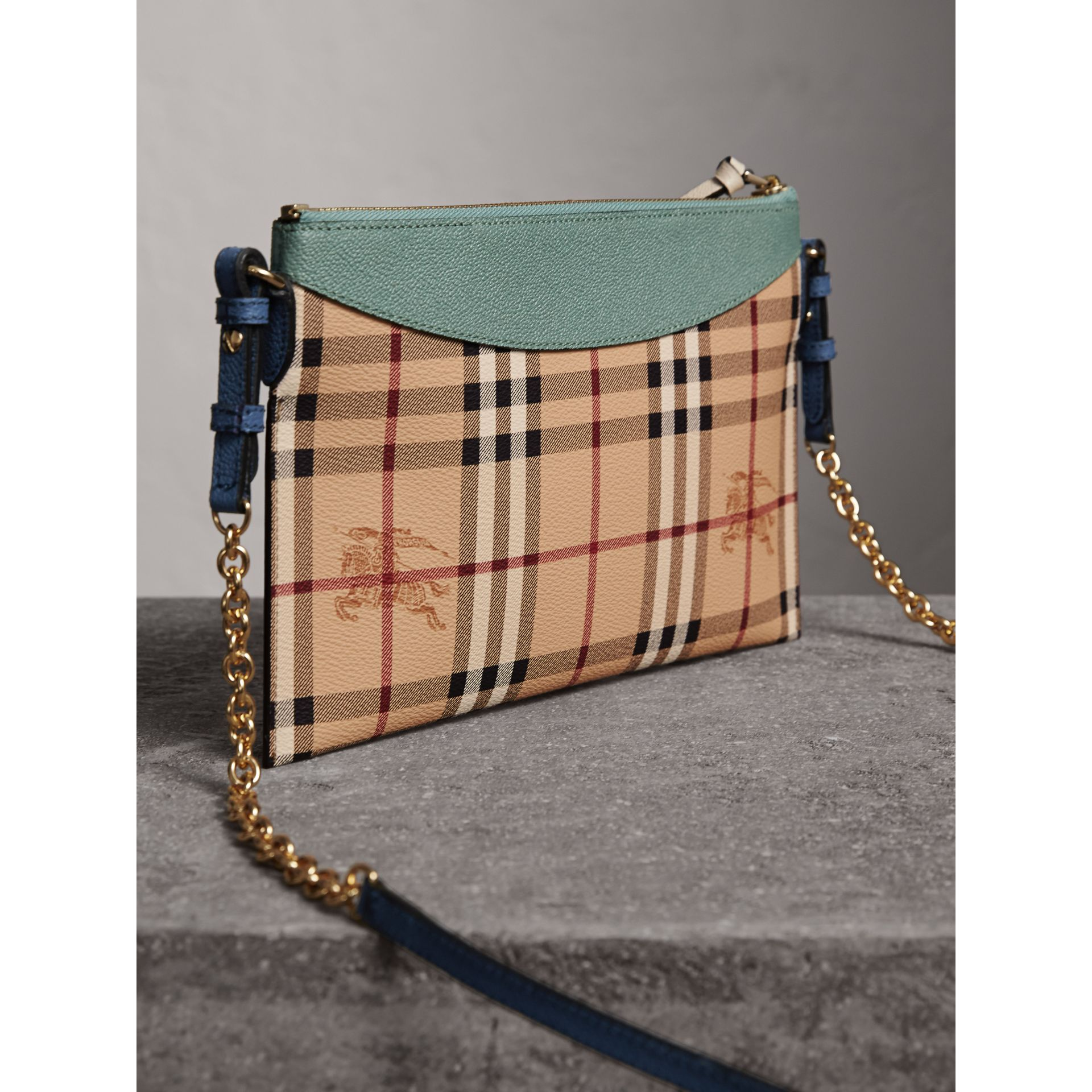 Haymarket Check and Two-tone Leather Clutch Bag in Eucalyptus Green/multicolour - Women | Burberry - gallery image 4