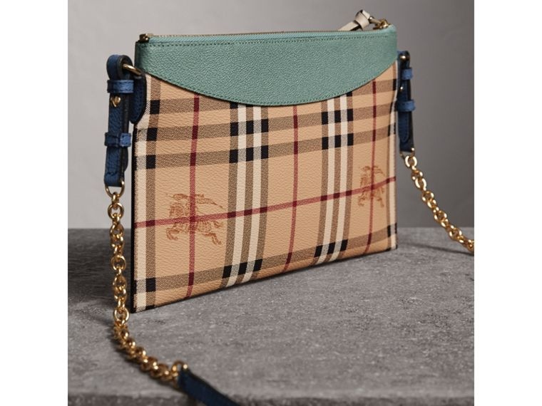 Haymarket Check and Two-tone Leather Clutch Bag in Eucalyptus Green/multicolour - Women | Burberry - cell image 4