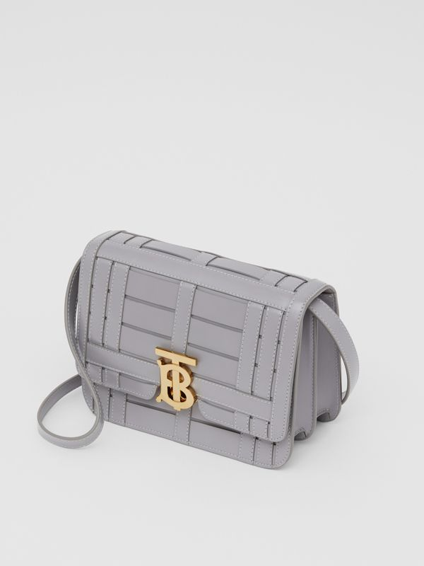 Small Woven Leather TB Bag in Cloud Grey - Women | Burberry United Kingdom - cell image 3