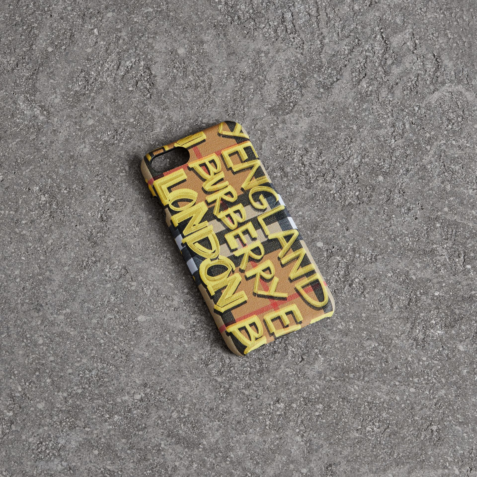 Graffiti Vintage Check Leather iPhone 8 Case in Yellow | Burberry - gallery image 0