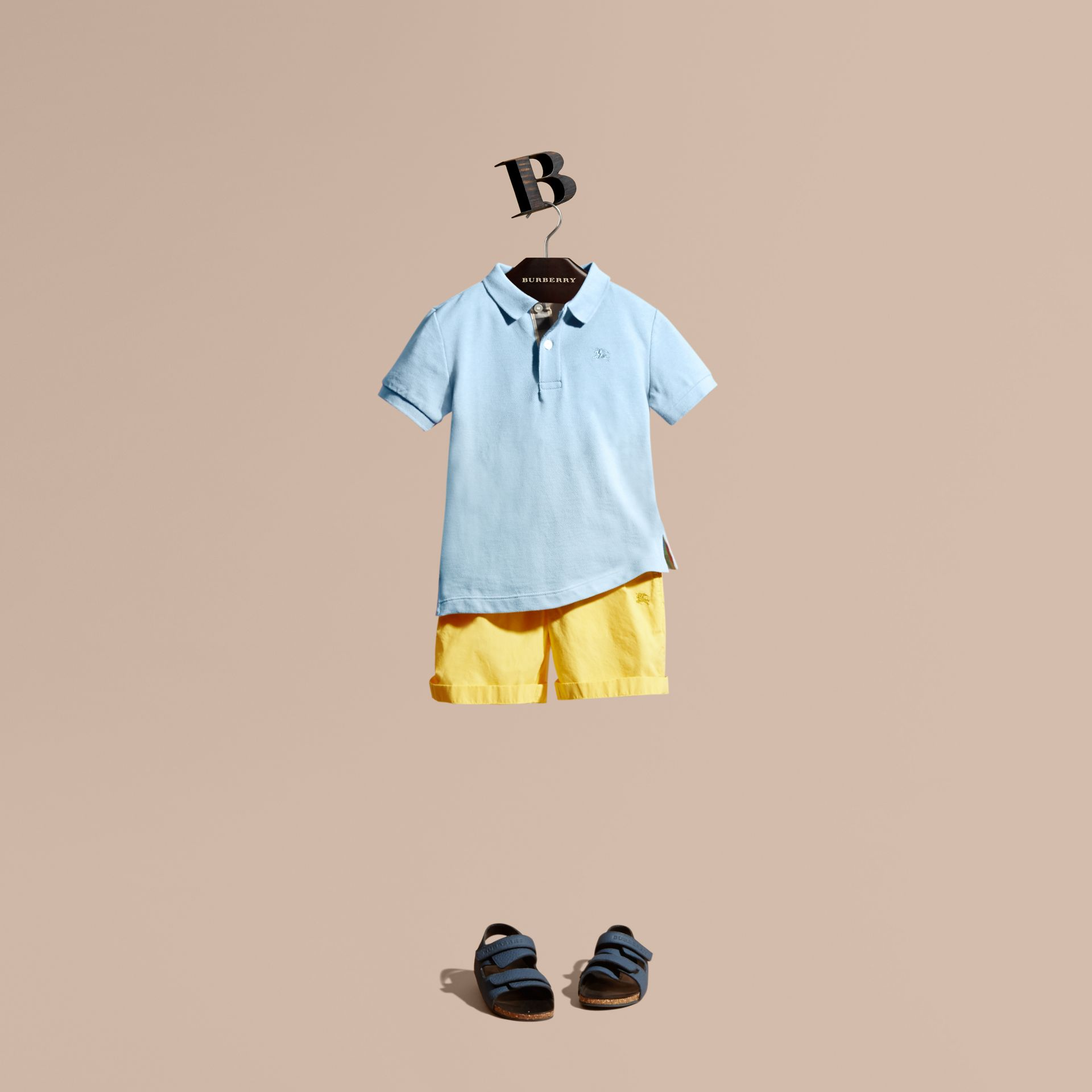 Check Placket Polo Shirt in Light Blue - gallery image 1