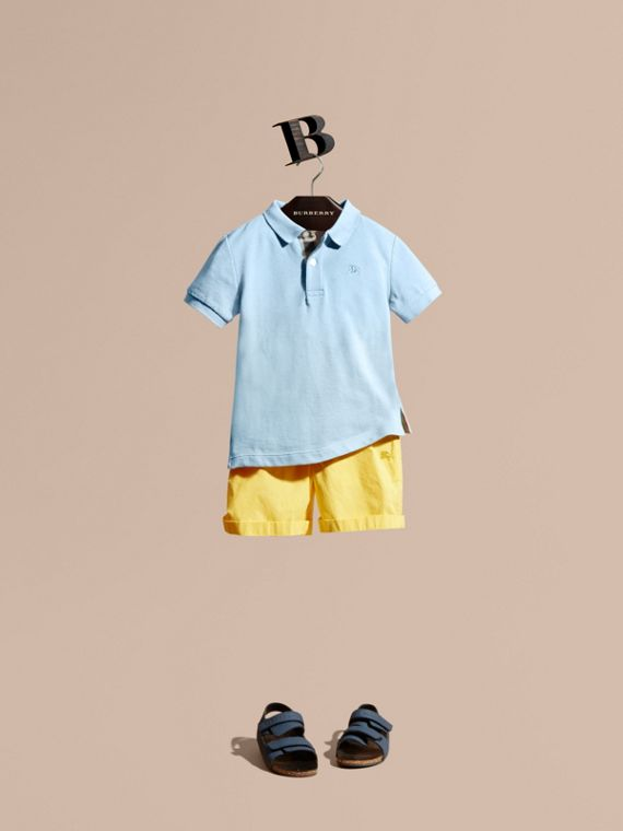 Check Placket Polo Shirt Light Blue