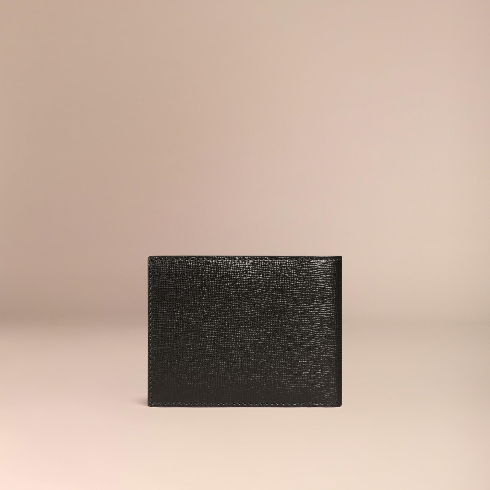 Schwarz Faltbrieftasche aus London-Leder Schwarz - Galerie-Bild 3