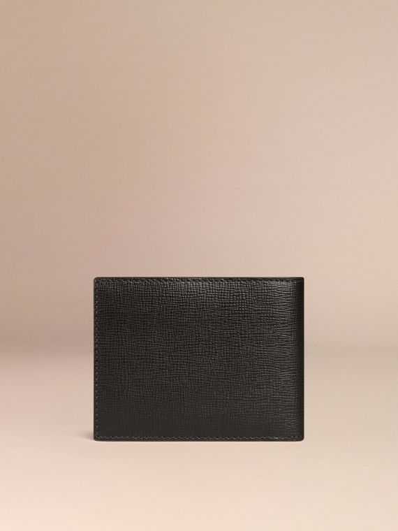 Schwarz Faltbrieftasche aus London-Leder Schwarz - cell image 2
